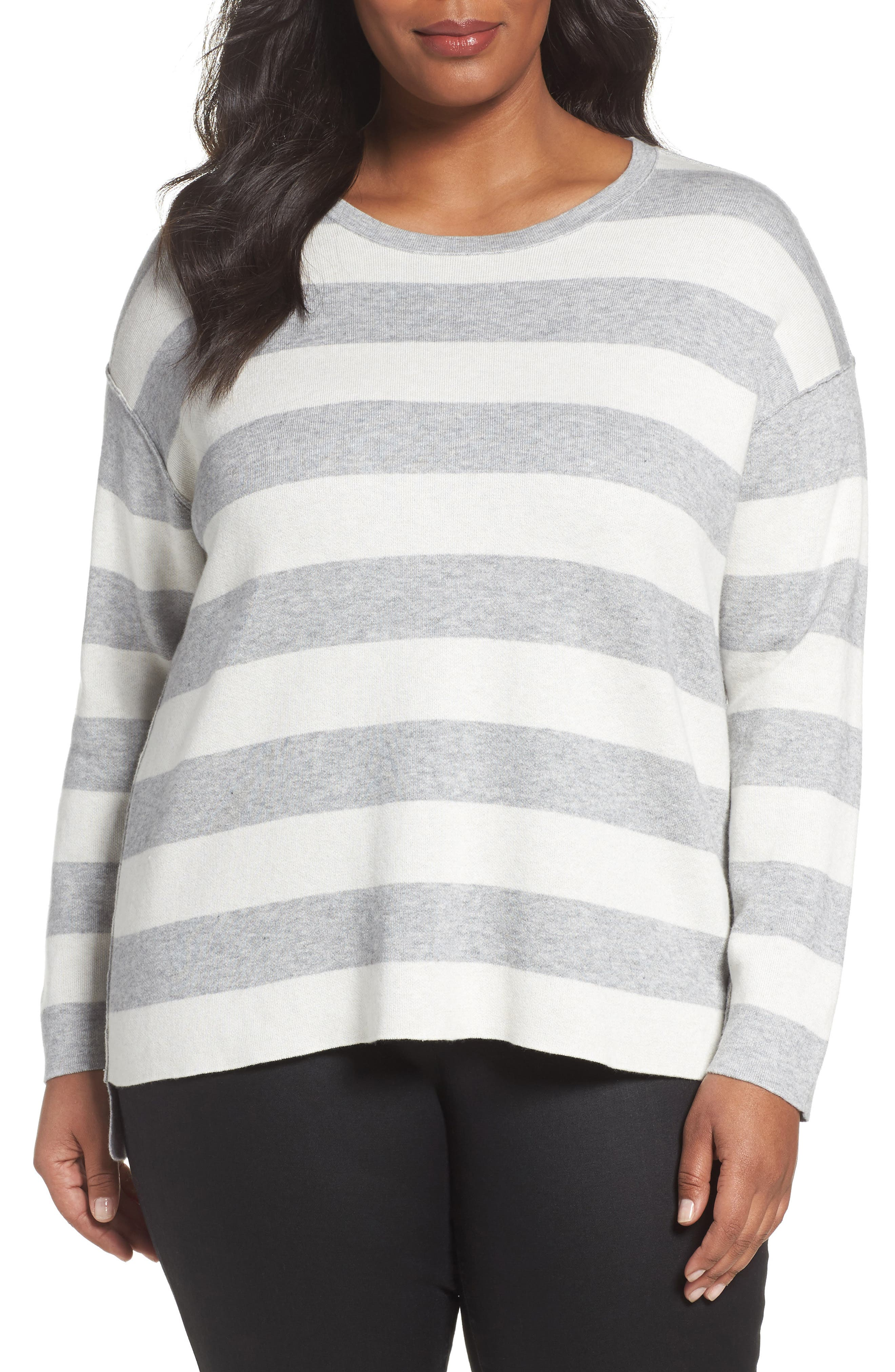 Alternate Image 1 Selected - Eileen Fisher Stripe Organic Cotton Blend Top (Plus Size)
