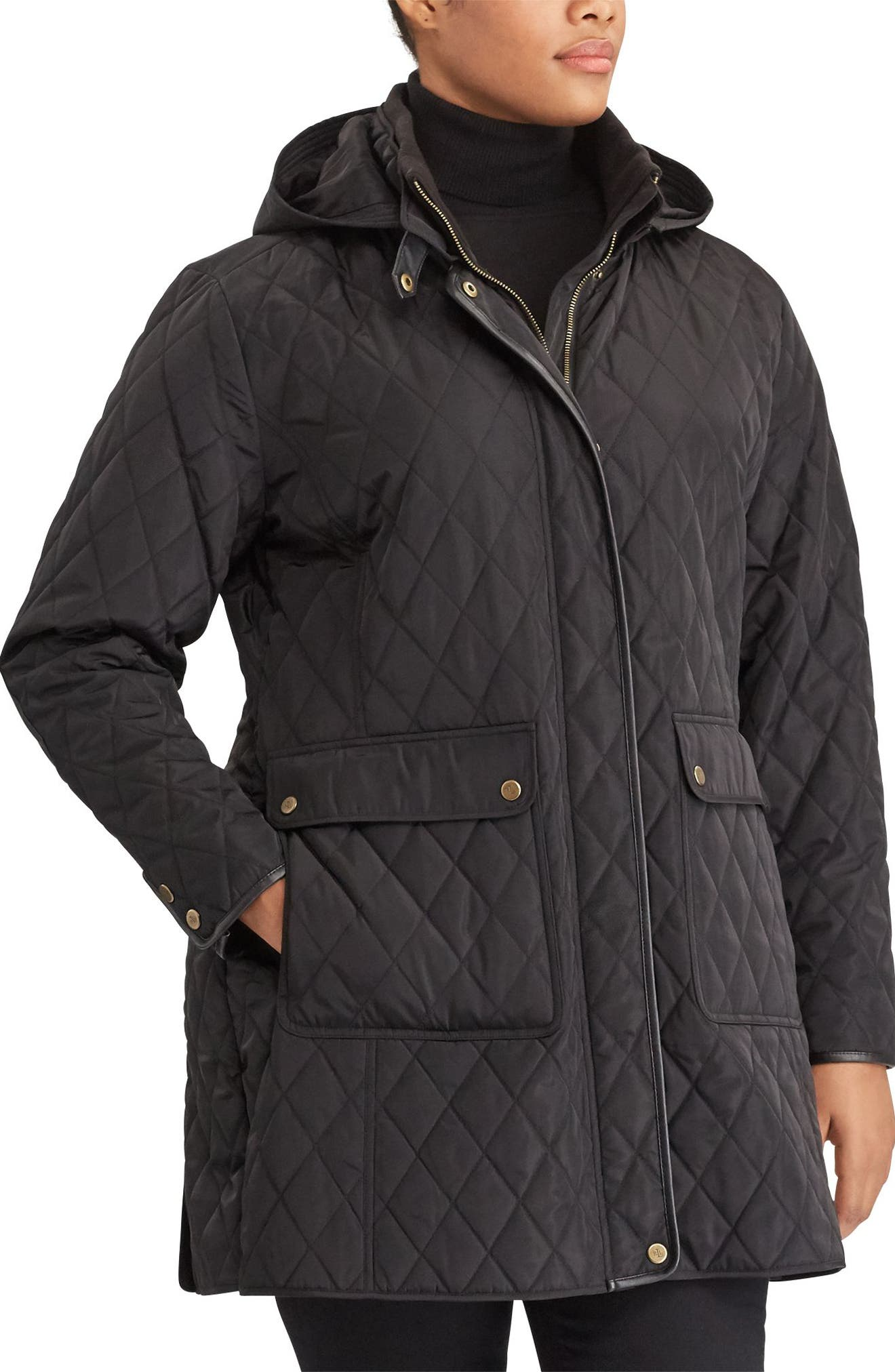 Diamond Quilted Jacket with Faux Leather Trim,                             Main thumbnail 1, color,                             Black