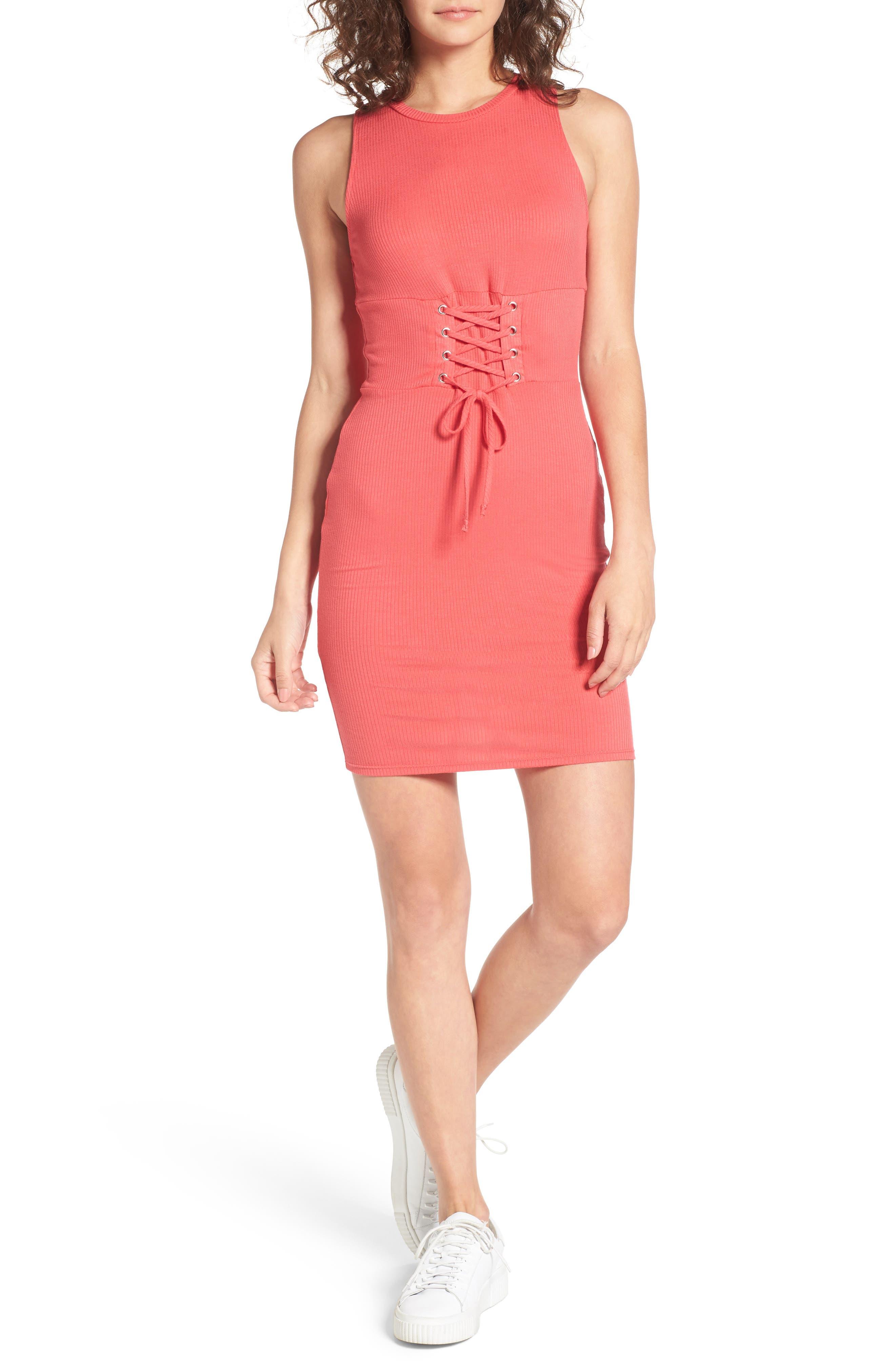 Ribbed Corset Tank Dress,                         Main,                         color, Coral