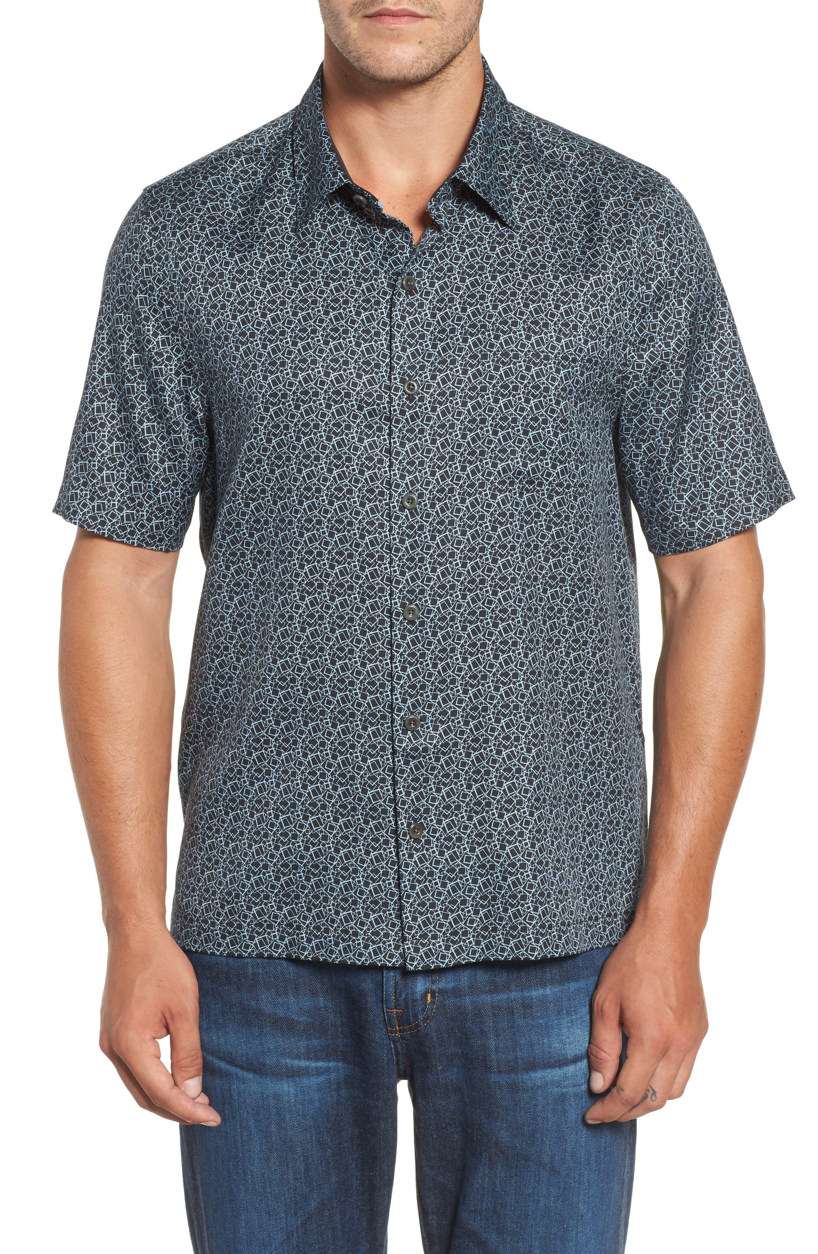 Blizzard Classic Fit Silk Blend Sport Shirt,                         Main,                         color, Black