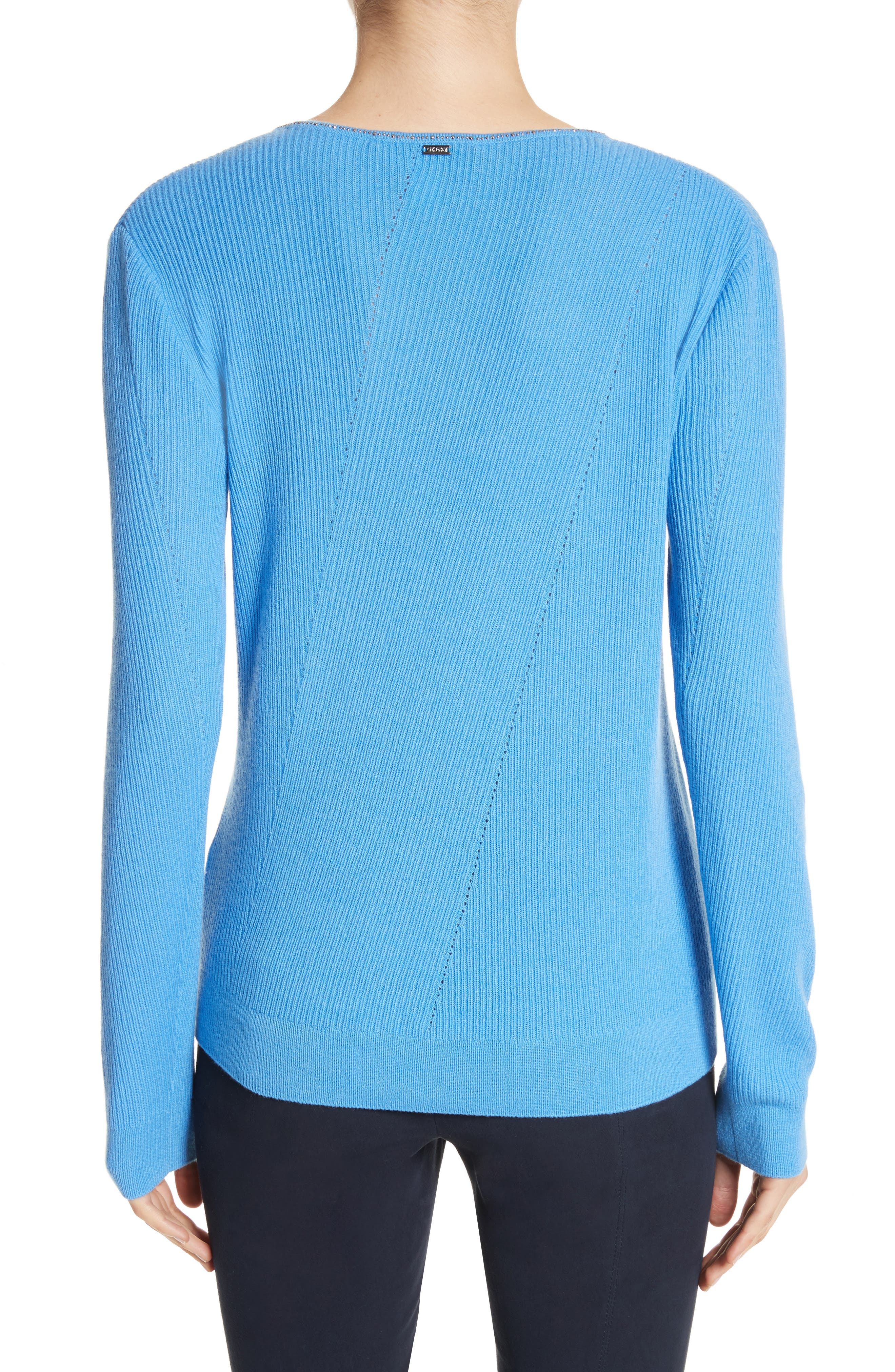 Cashmere Sweater,                             Alternate thumbnail 2, color,                             Bright Niagara