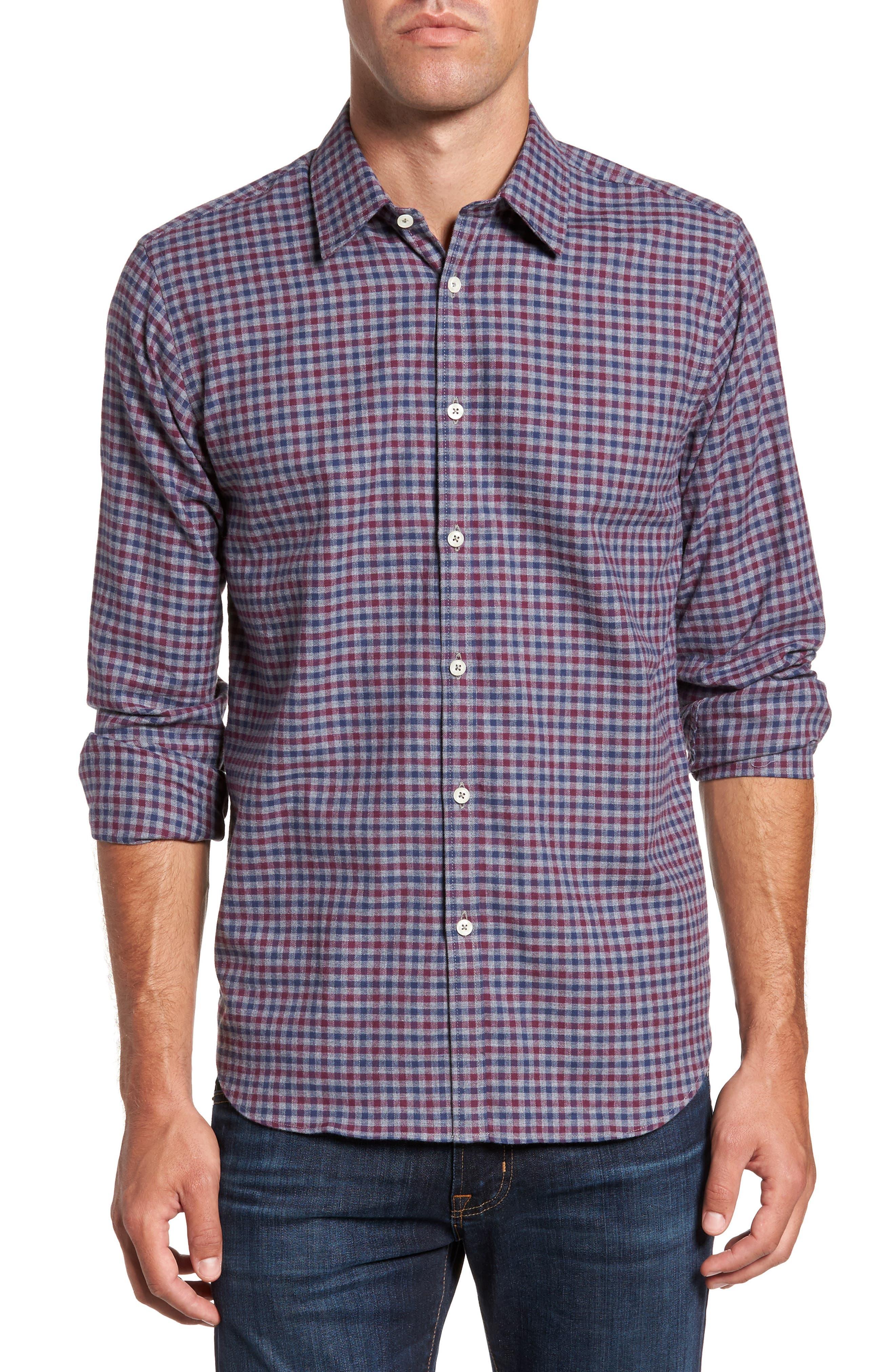 Slim Fit Check Sport Shirt,                         Main,                         color, Dark Gray