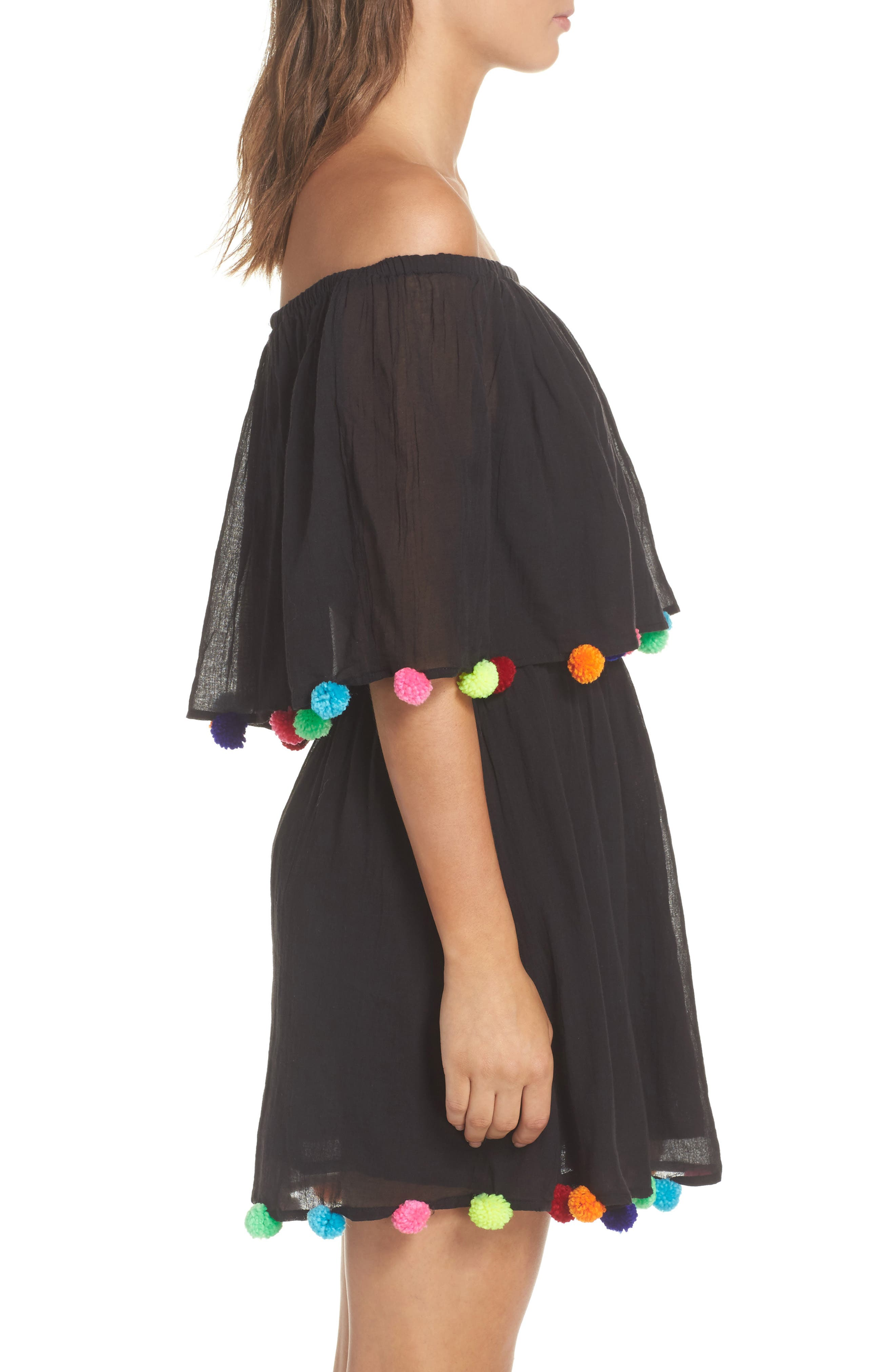 Cover-Up Dress,                             Alternate thumbnail 3, color,                             Black