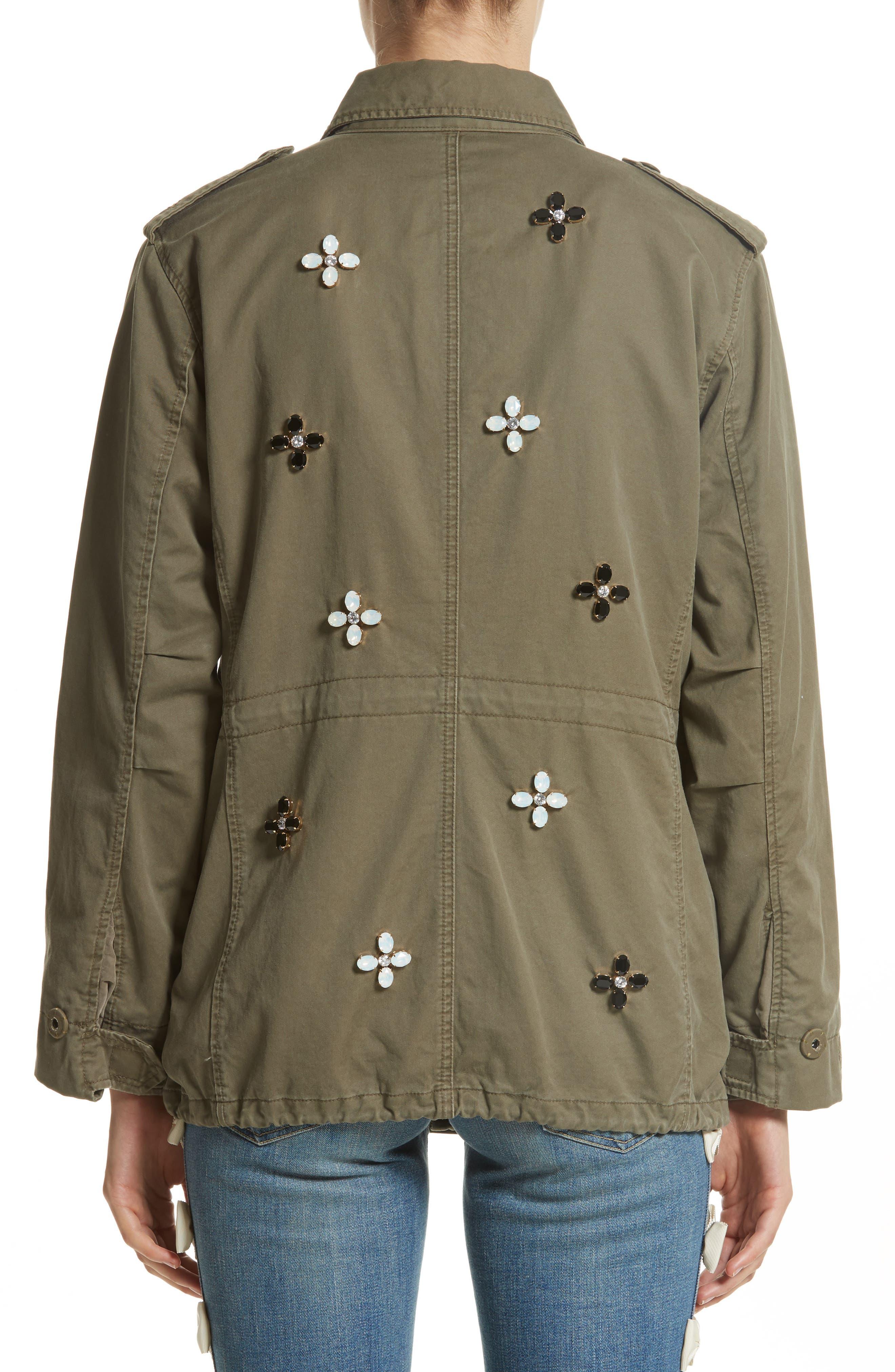Bijou Flower Field Jacket,                             Alternate thumbnail 2, color,                             Khaki