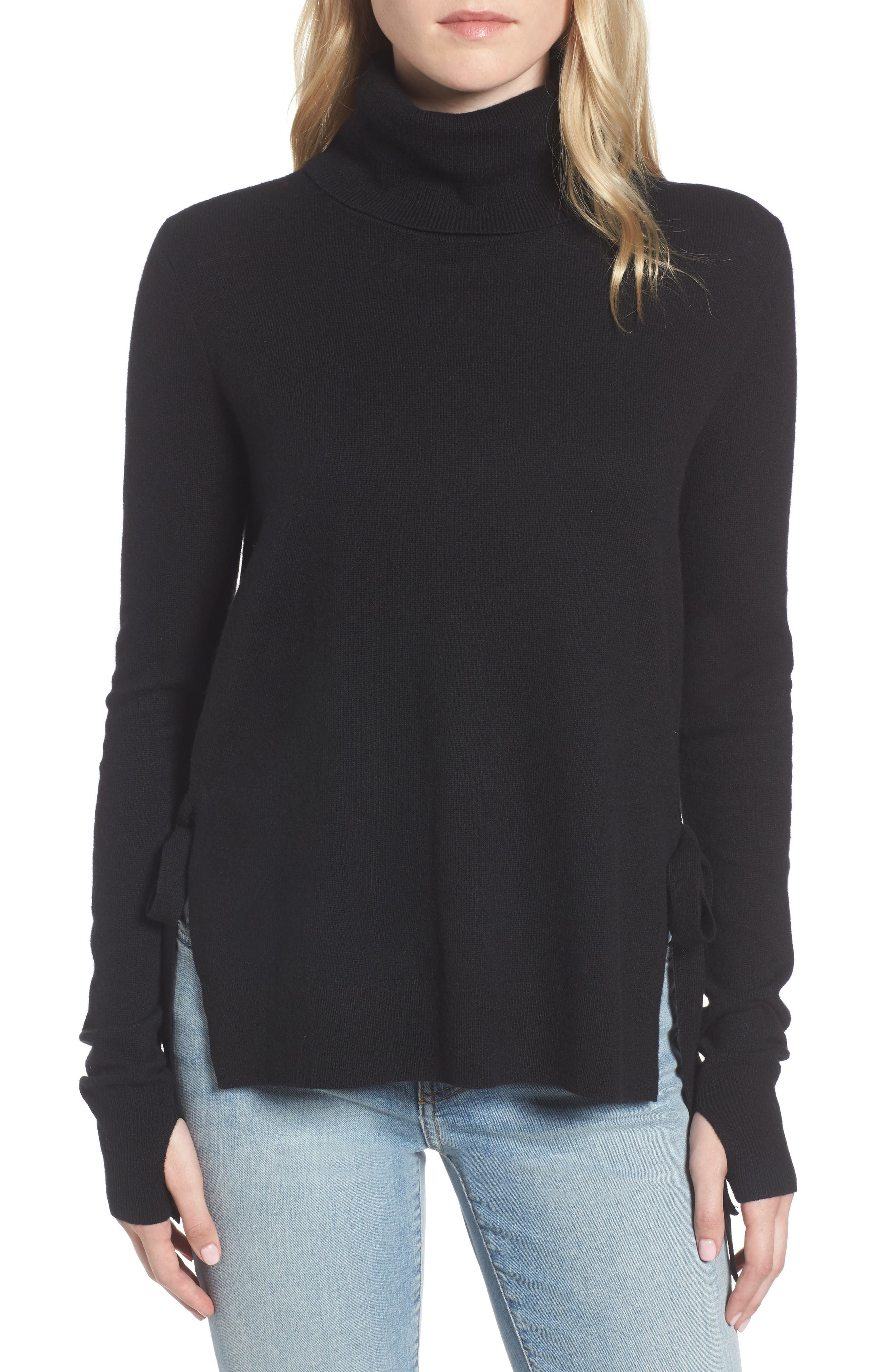 Alternate Image 1 Selected - Pam & Gela Distressed Turtleneck Sweater