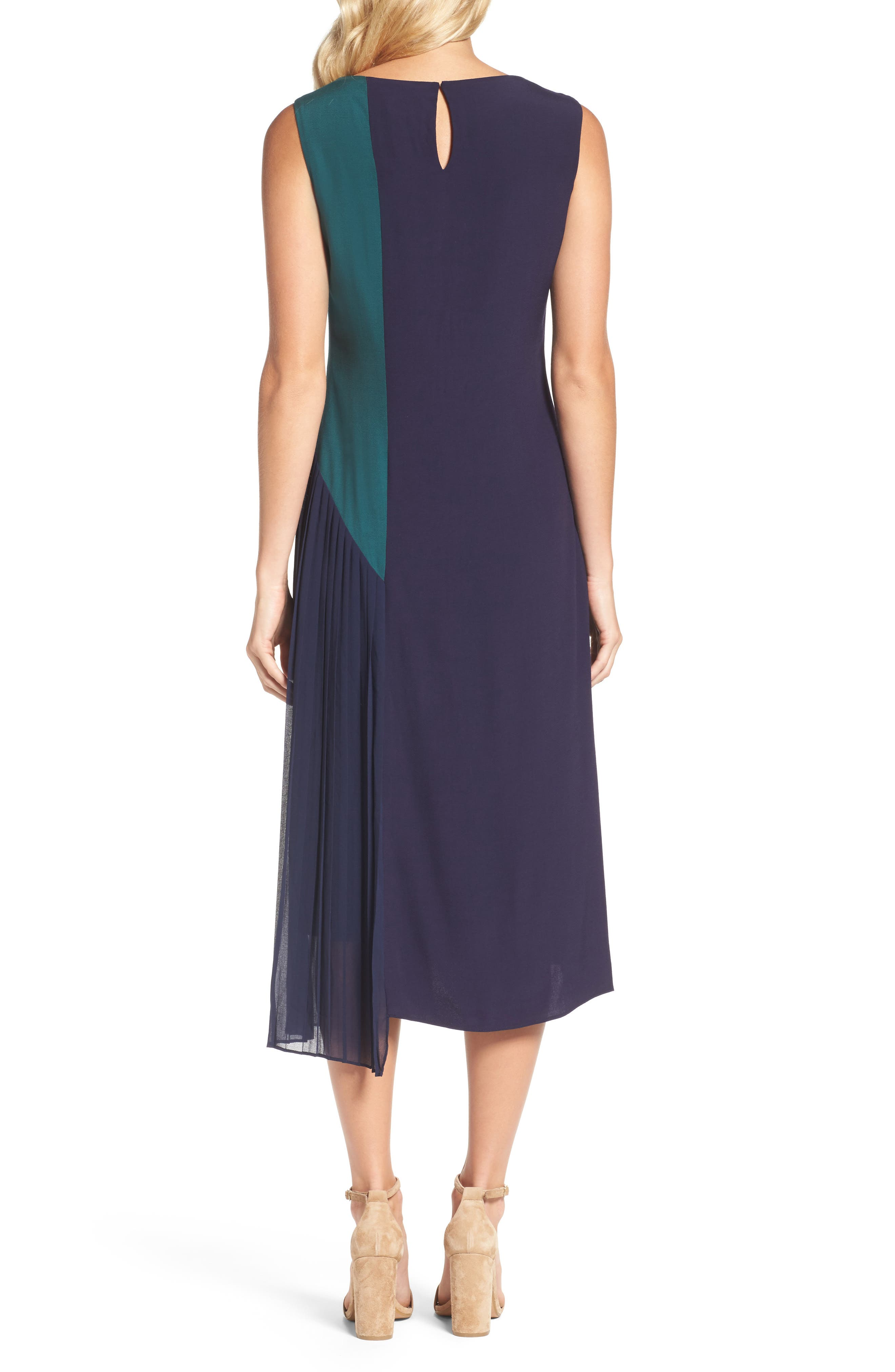 Block Pleated Midi Dress,                             Alternate thumbnail 2, color,                             Multi