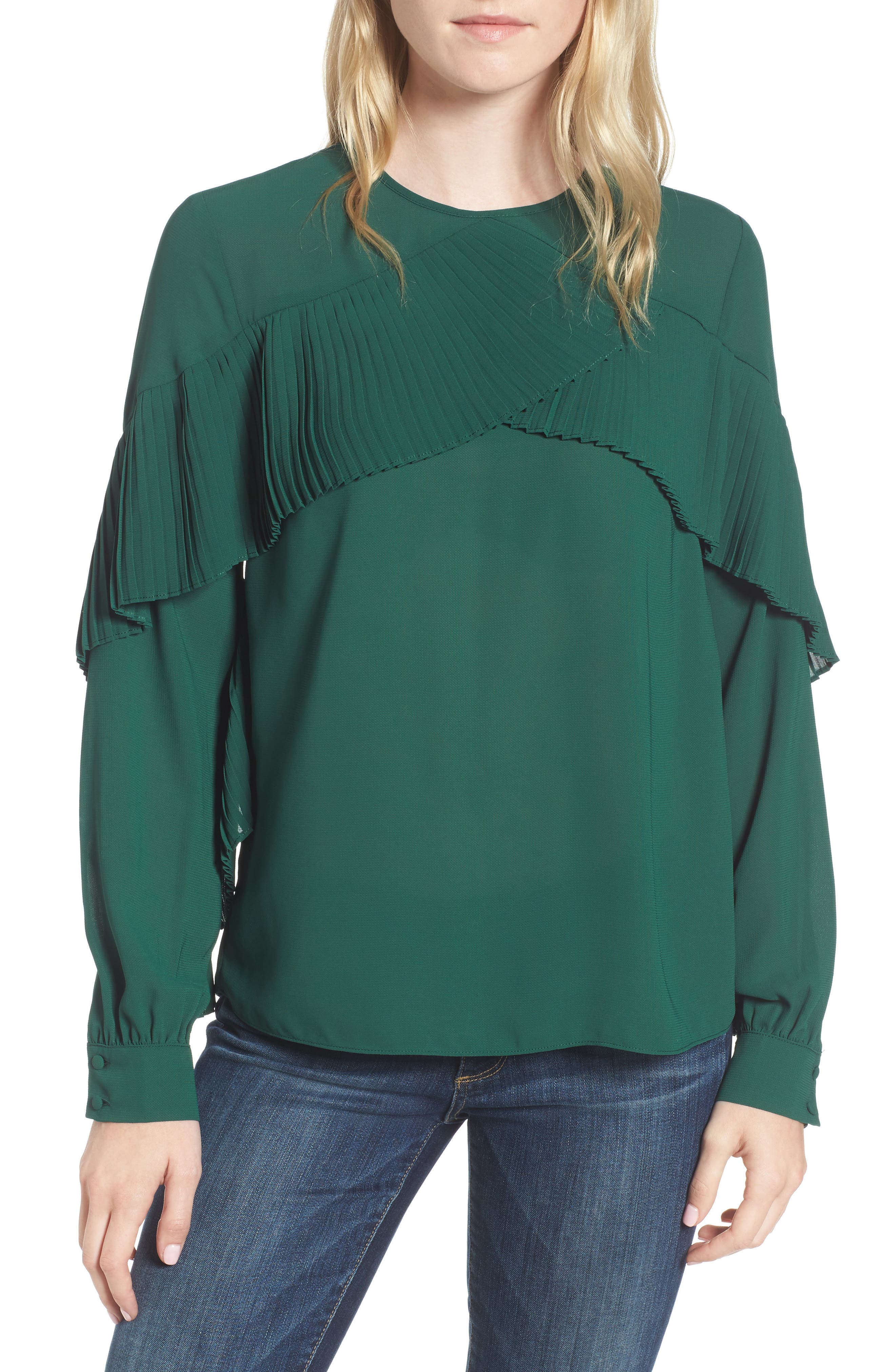 Pleated Ruffle Top,                         Main,                         color, Green Evergreen