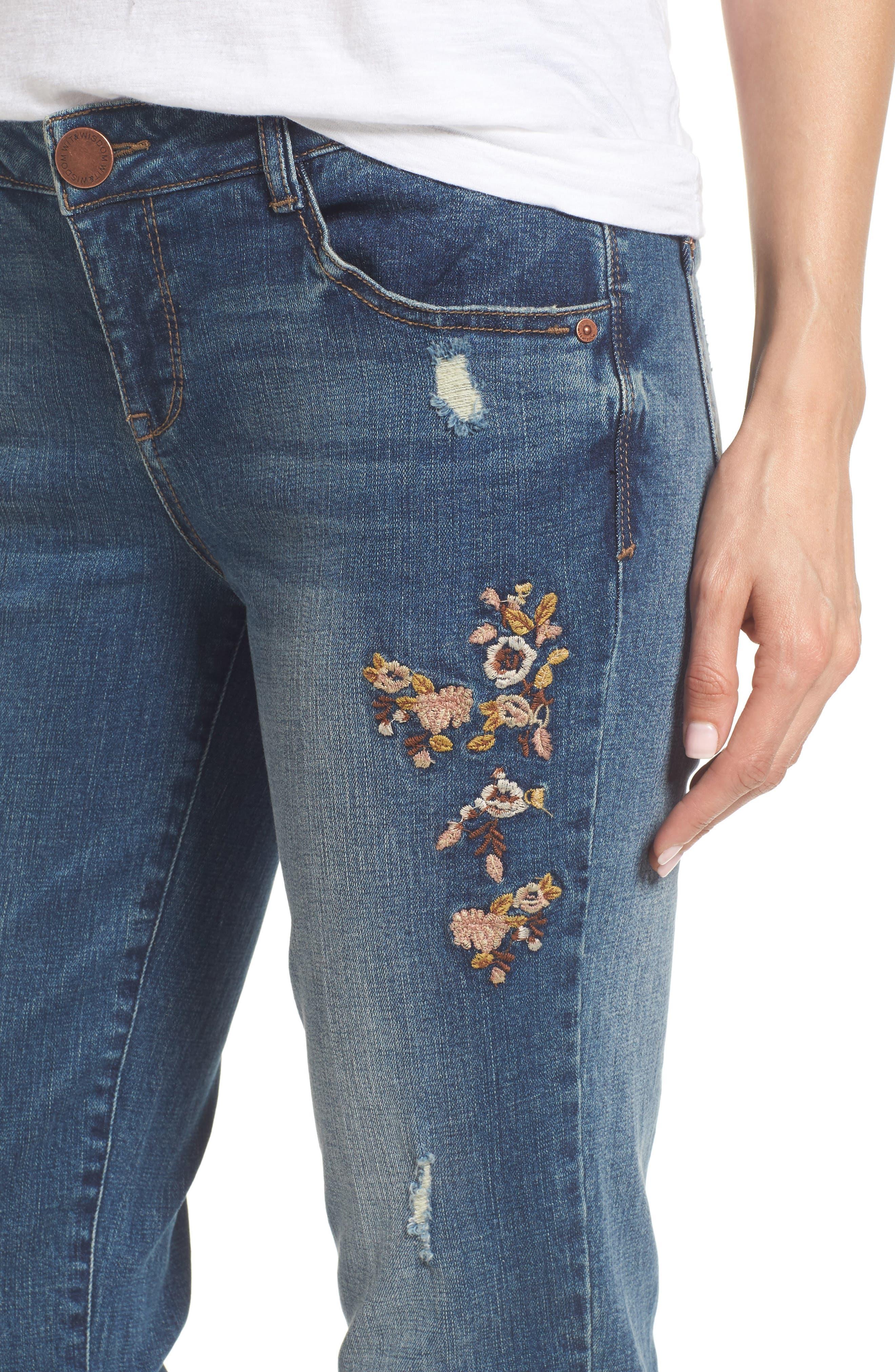 Flex-ellent Embroidered Boyfriend Jeans,                             Alternate thumbnail 4, color,                             Blue