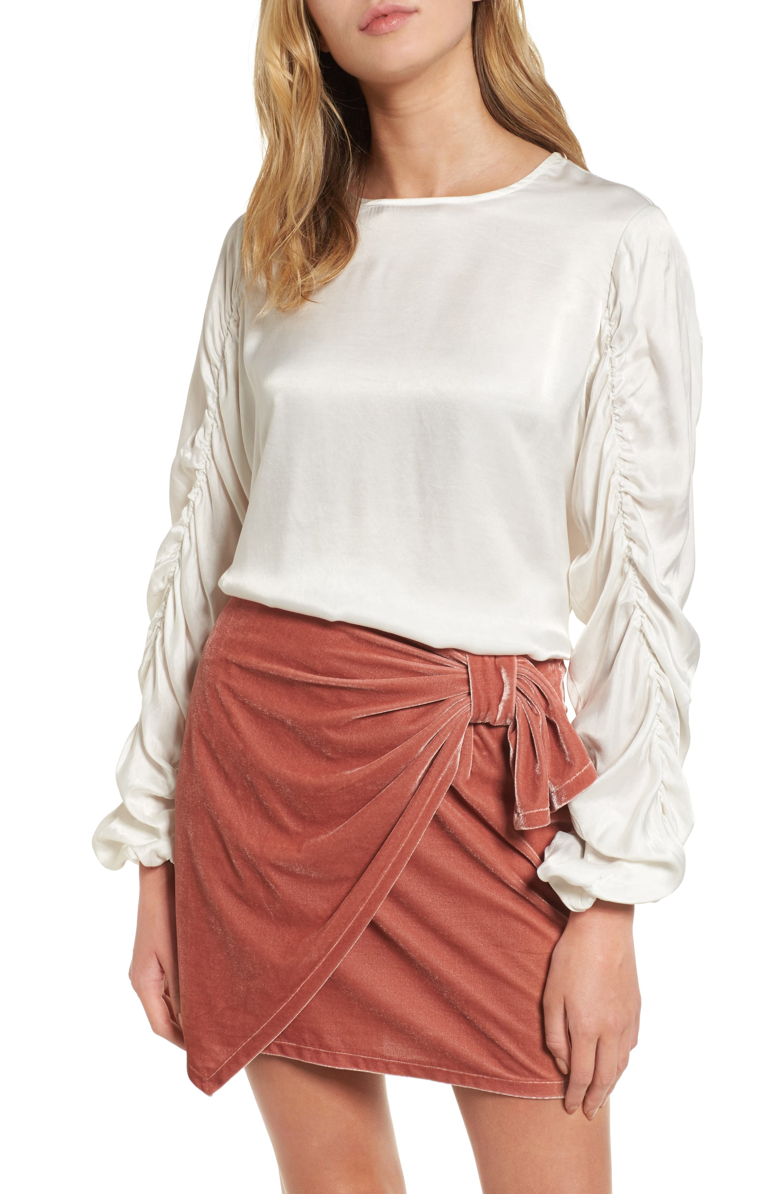 Lexi Ruched Sleeve Top,                         Main,                         color, Ivory