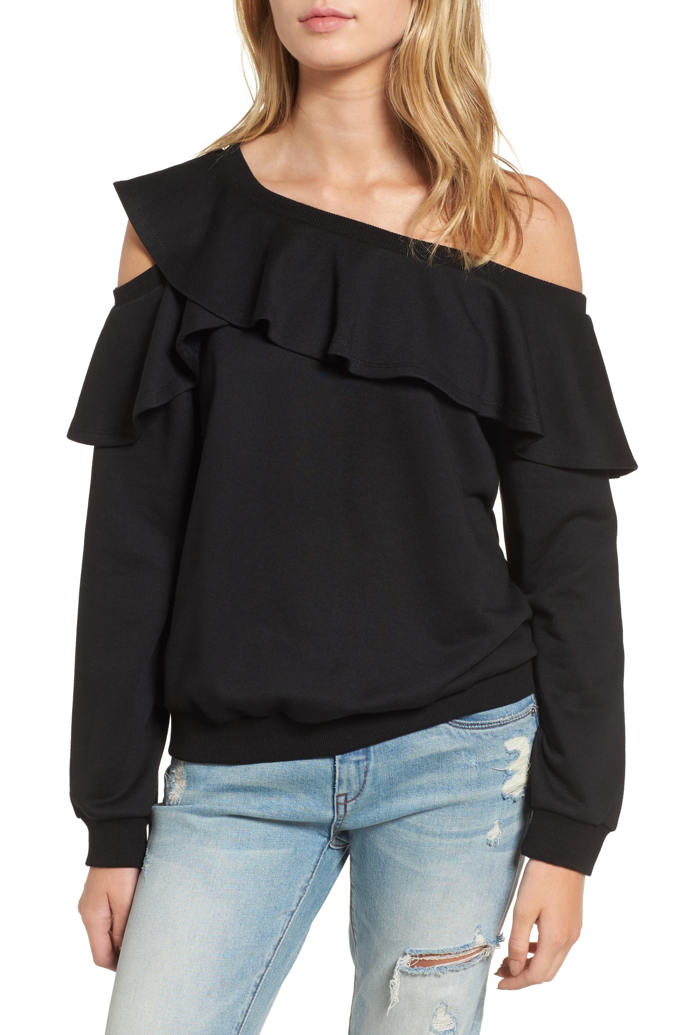 One-Shoulder Ruffle Sweatshirt,                         Main,                         color, Black