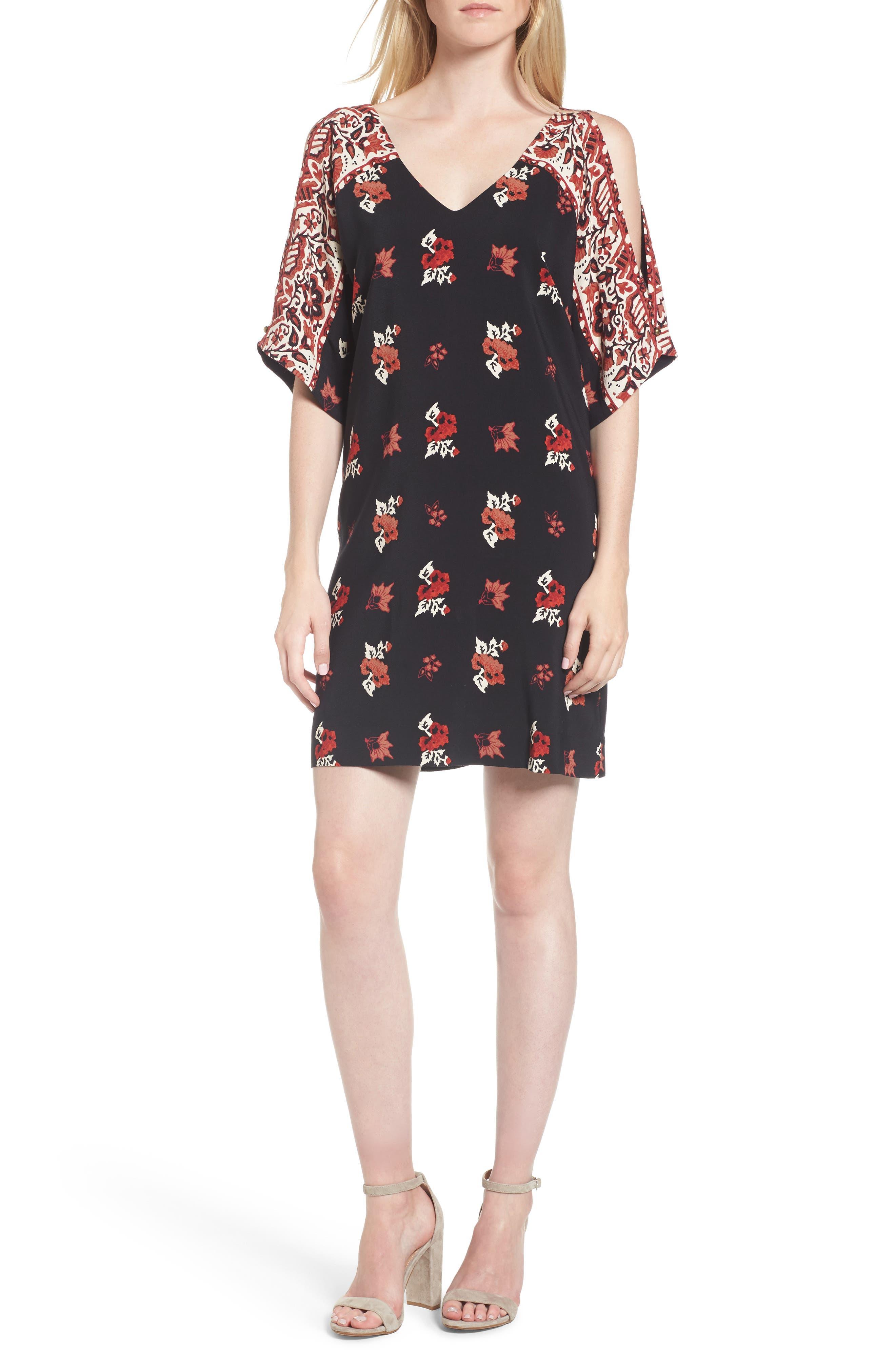 Floral Shift Dress,                         Main,                         color, Black