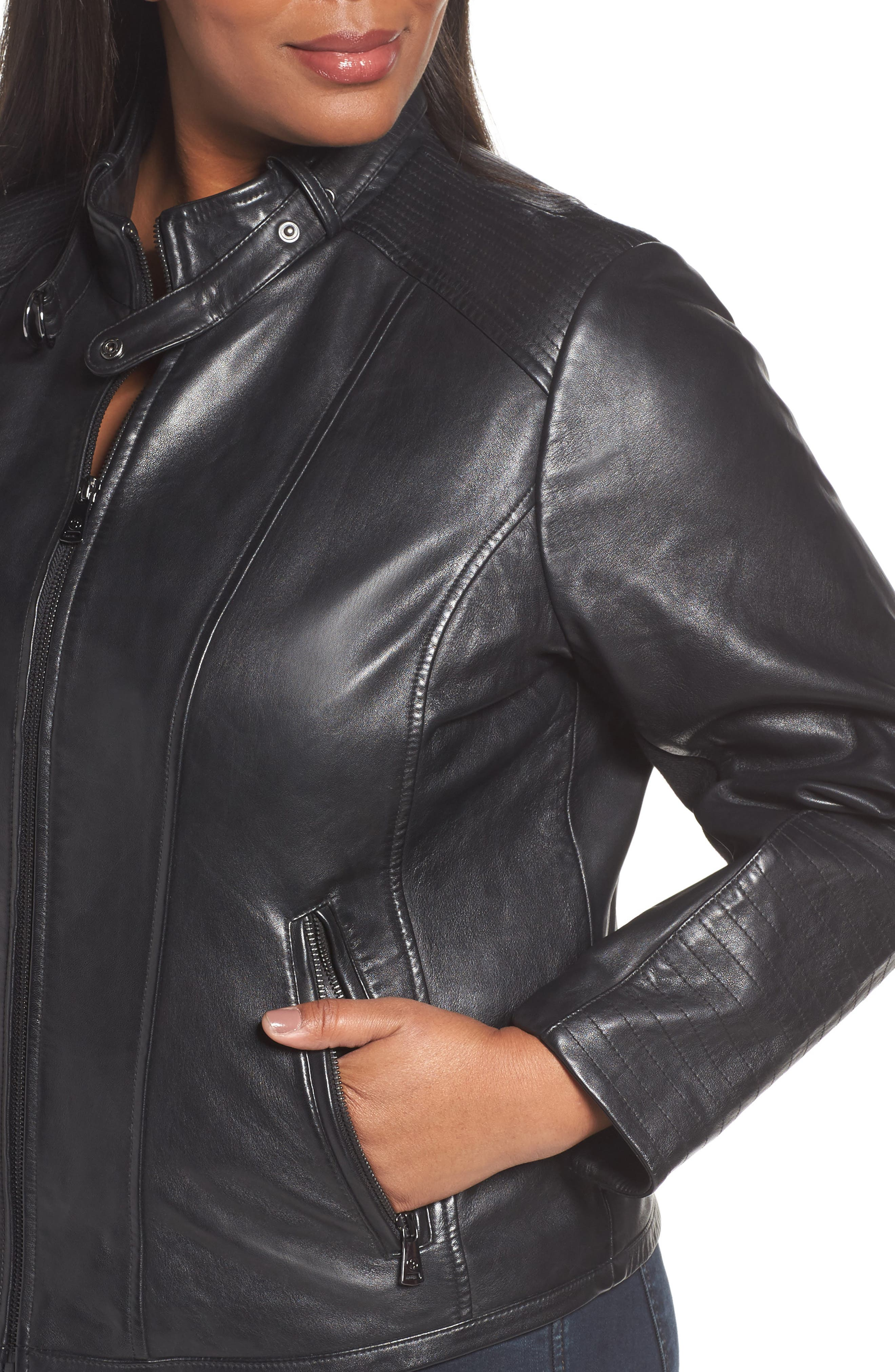 Alternate Image 4  - Bernardo Leather Moto Jacket (Plus Size)