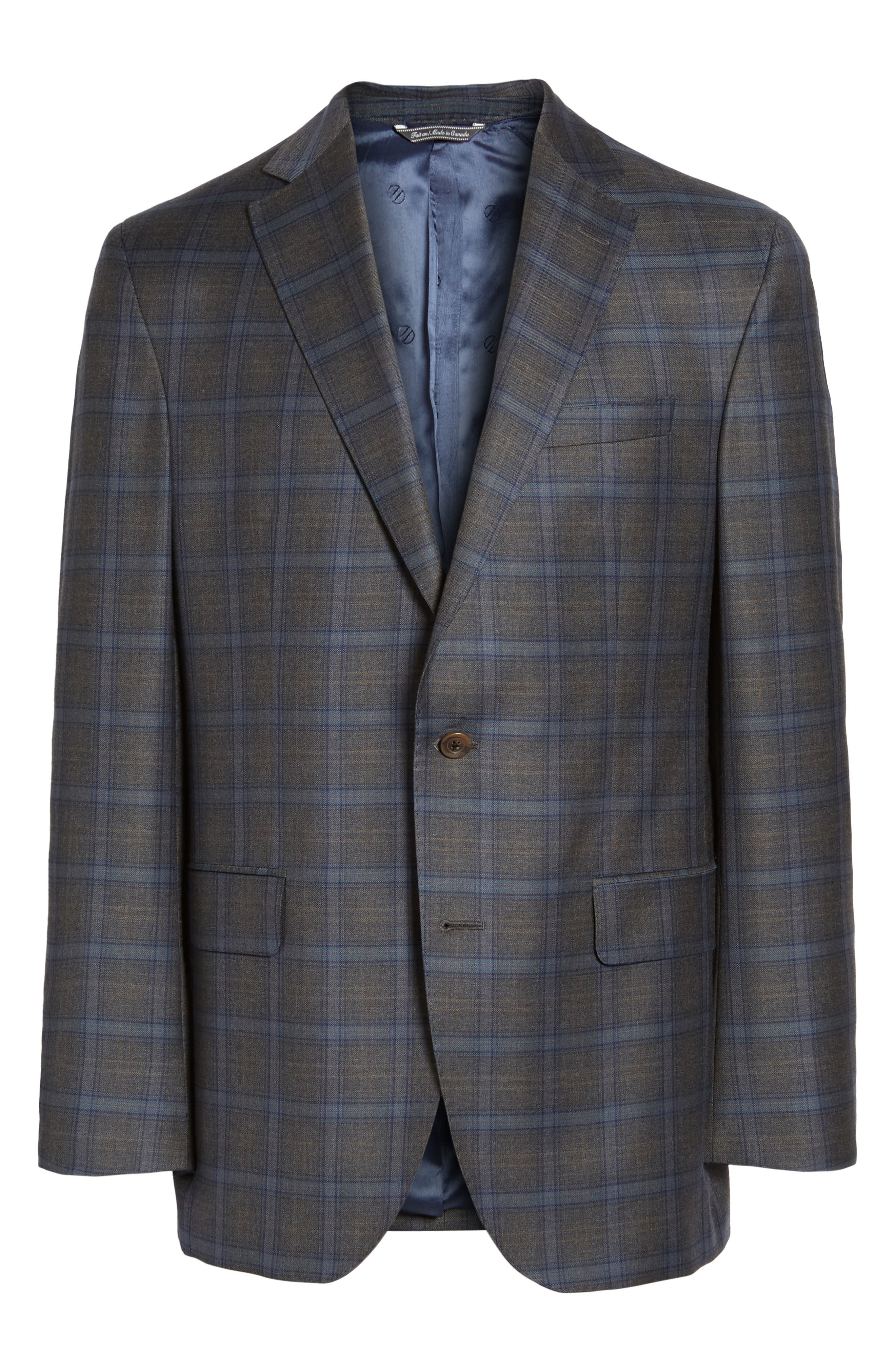 Arnold Classic Fit Plaid Wool Sport Coat,                             Alternate thumbnail 6, color,                             Grey