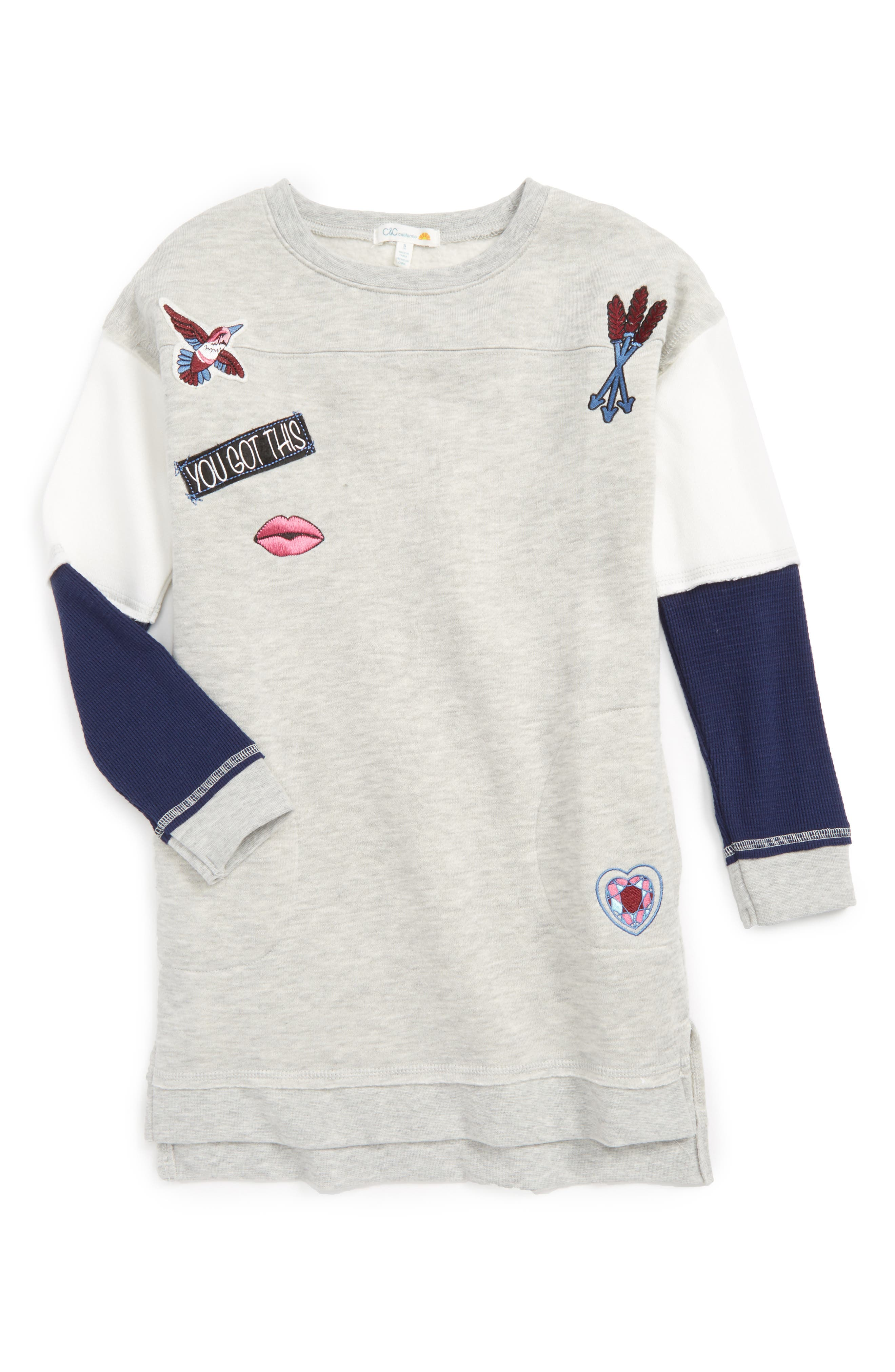 C & C California Embellished Sweatshirt Dress (Big Girls)