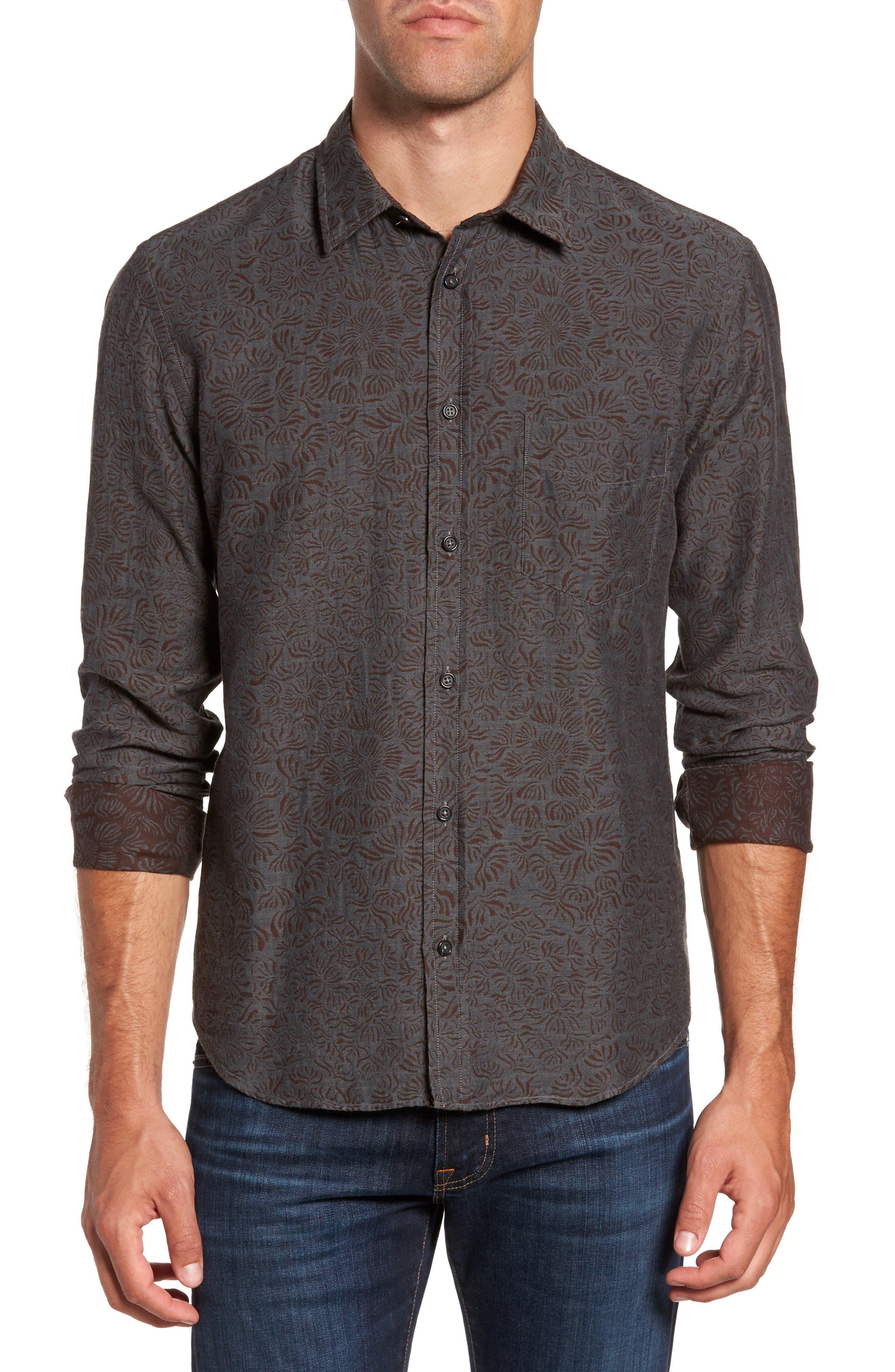Kirby Slim Fit Jacquard Sport Shirt,                         Main,                         color, Charcoal/ Burgundy