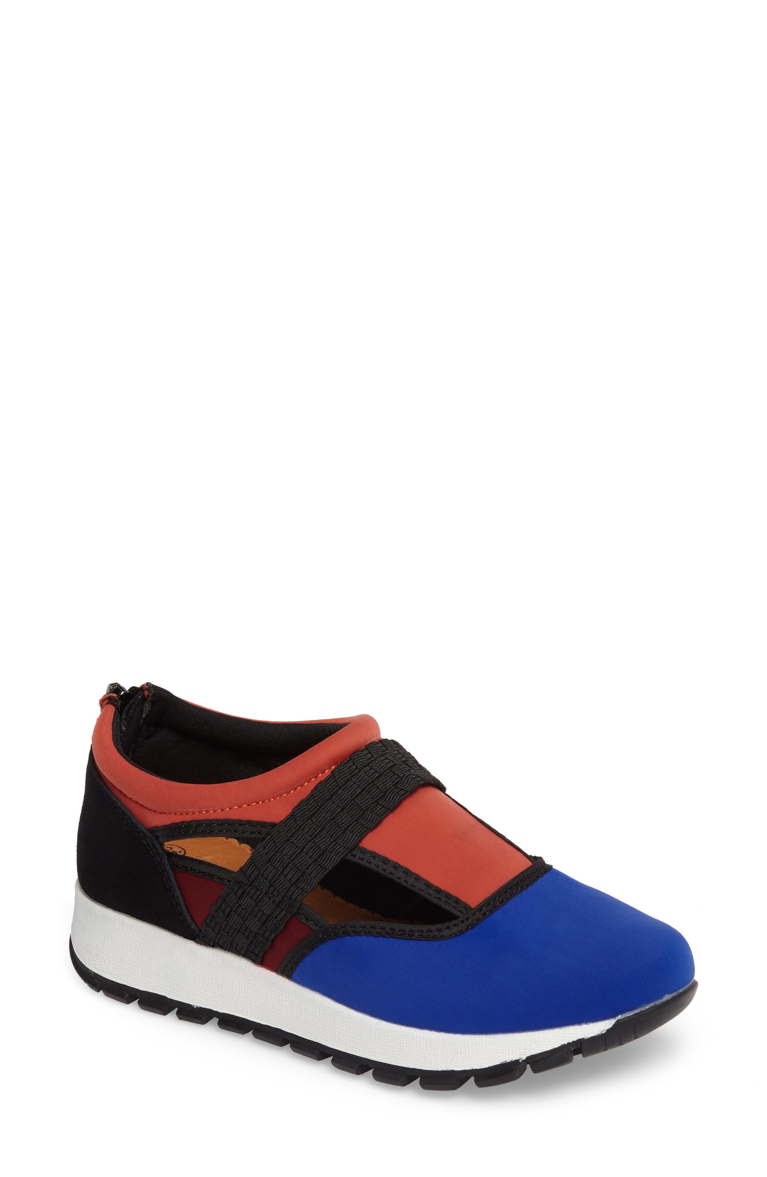 Bernie Mev Janelle Sneaker,                             Main thumbnail 1, color,                             Royal Blue/ Coral Fabric