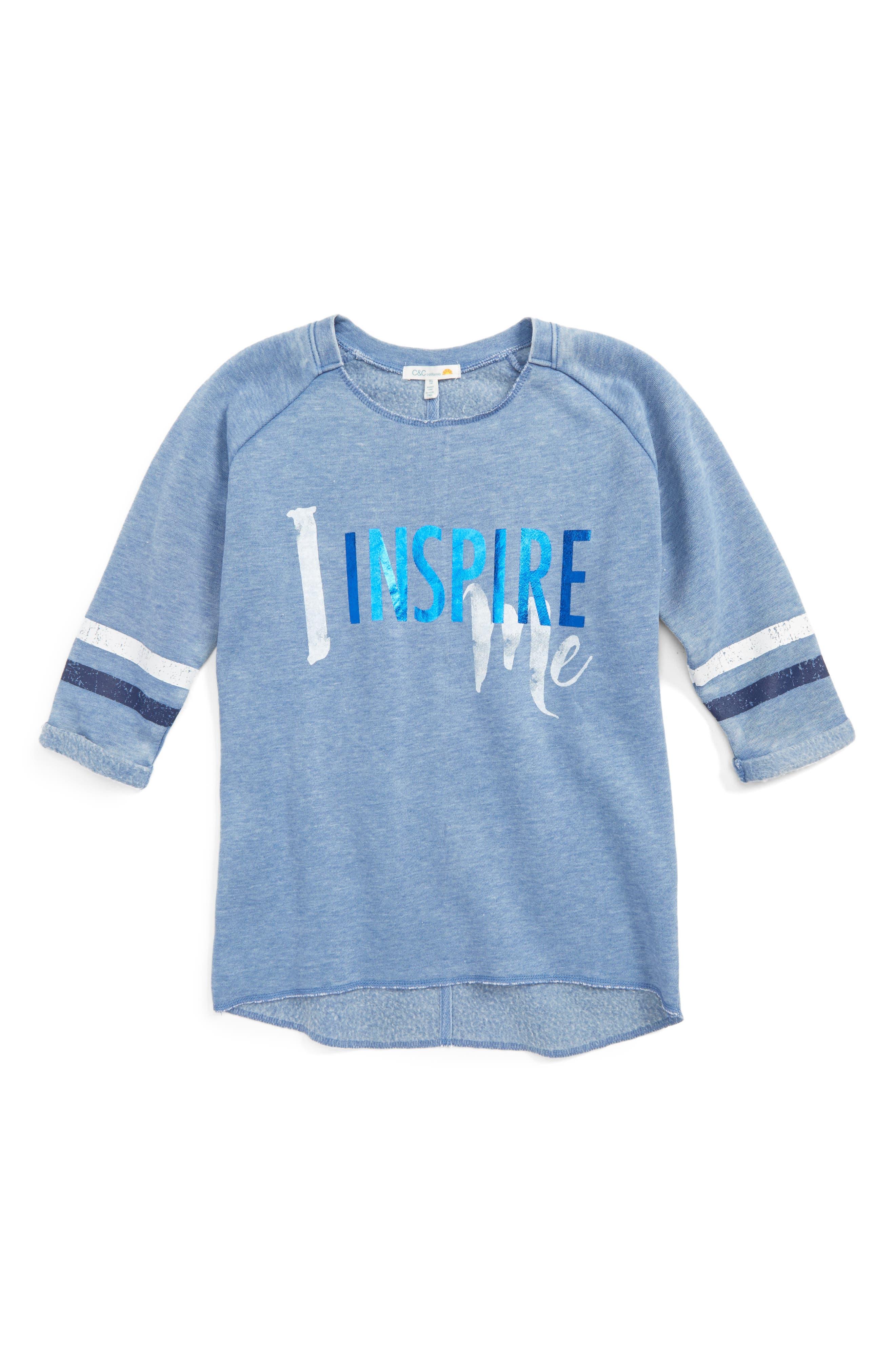 Alternate Image 1 Selected - C & C California Inspire Me Sweatshirt Tee (Big Girls)