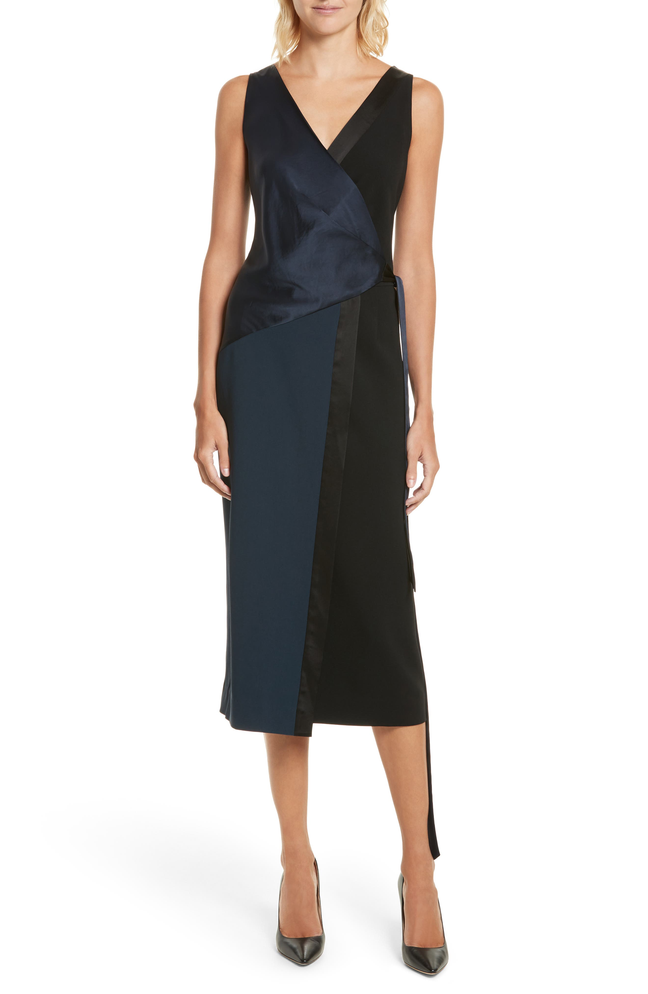 Midi Wrap Dress,                             Main thumbnail 1, color,                             Alexander Navy/ Black