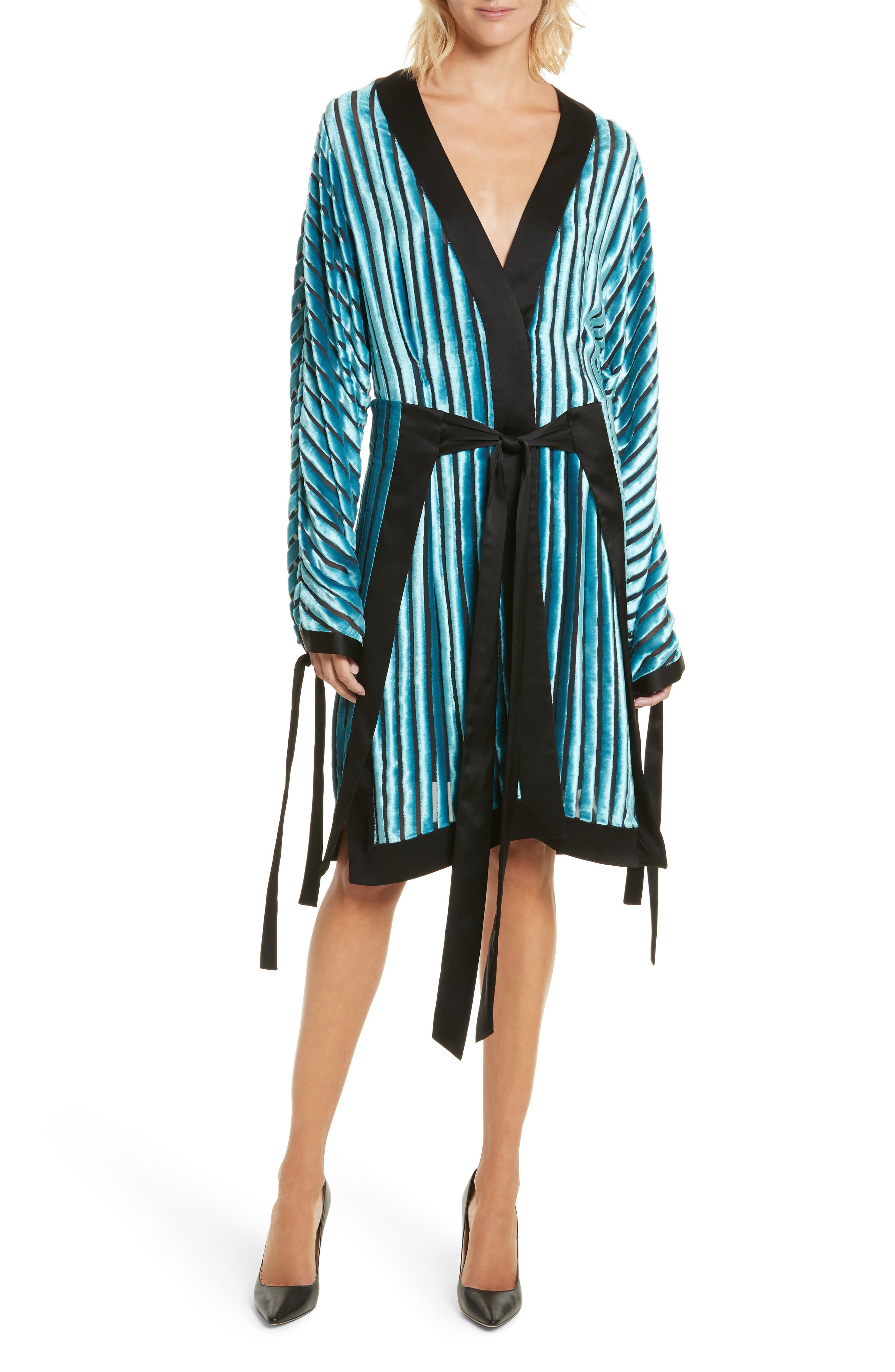Velvet Burnout Kimono Dress,                             Main thumbnail 1, color,                             Black/ Marine
