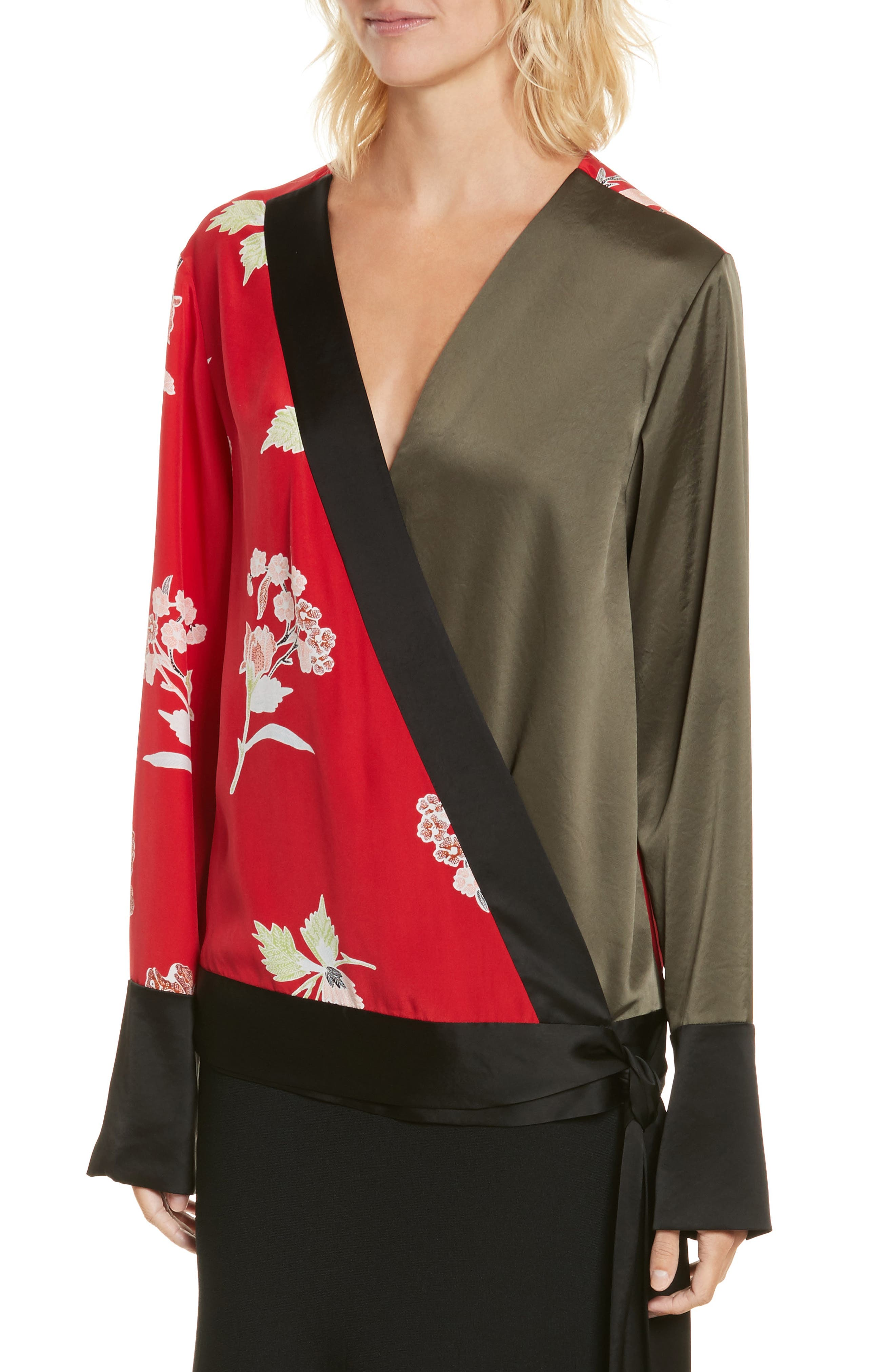Diane von Furstenberg Bell Sleeve Crossover Silk Blouse,                             Alternate thumbnail 4, color,                             Everton Lipstick/ Olive
