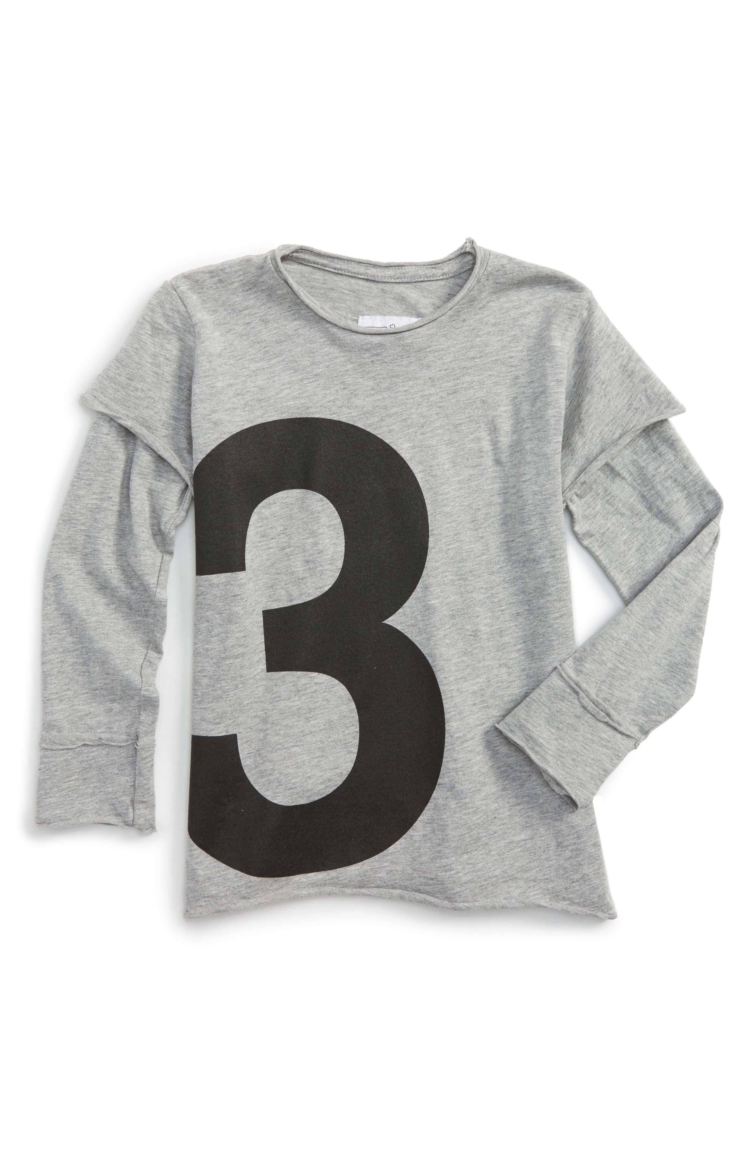Numbered Tee,                         Main,                         color, Heather