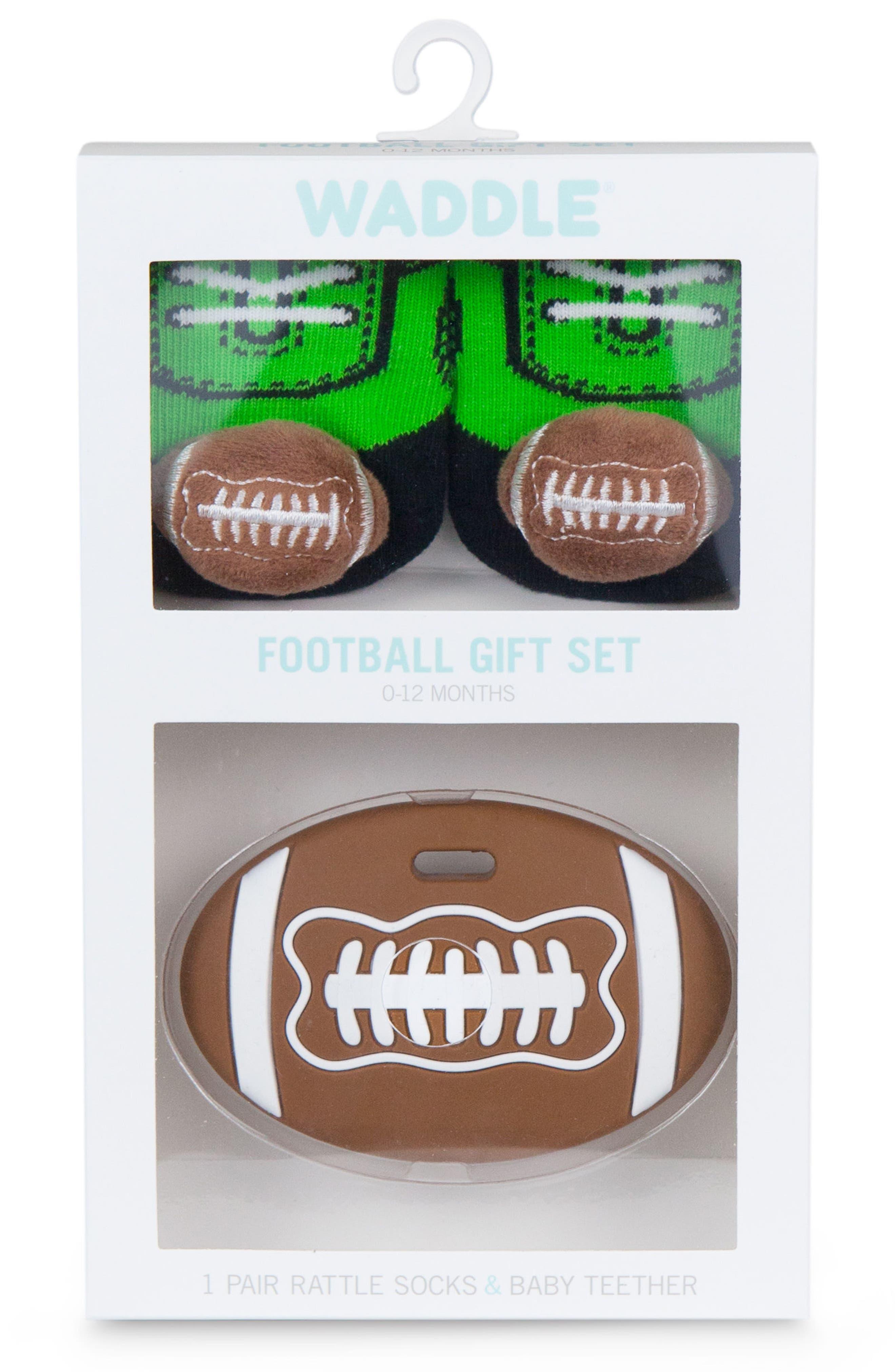 Football Rattle Socks & Teether Gift Set,                             Alternate thumbnail 3, color,                             Brown