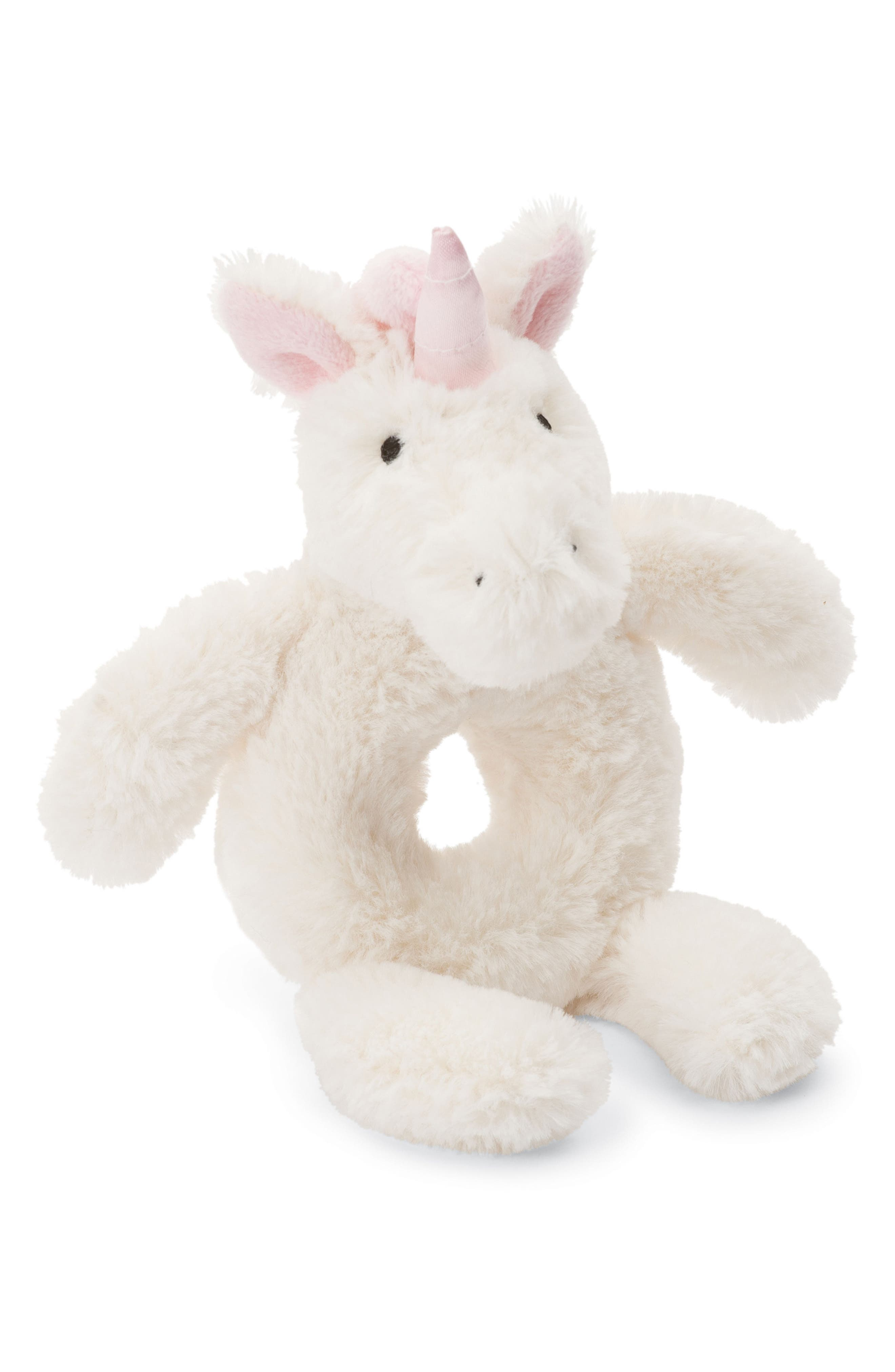 Bashful Unicorn Grabber Rattle,                         Main,                         color, White