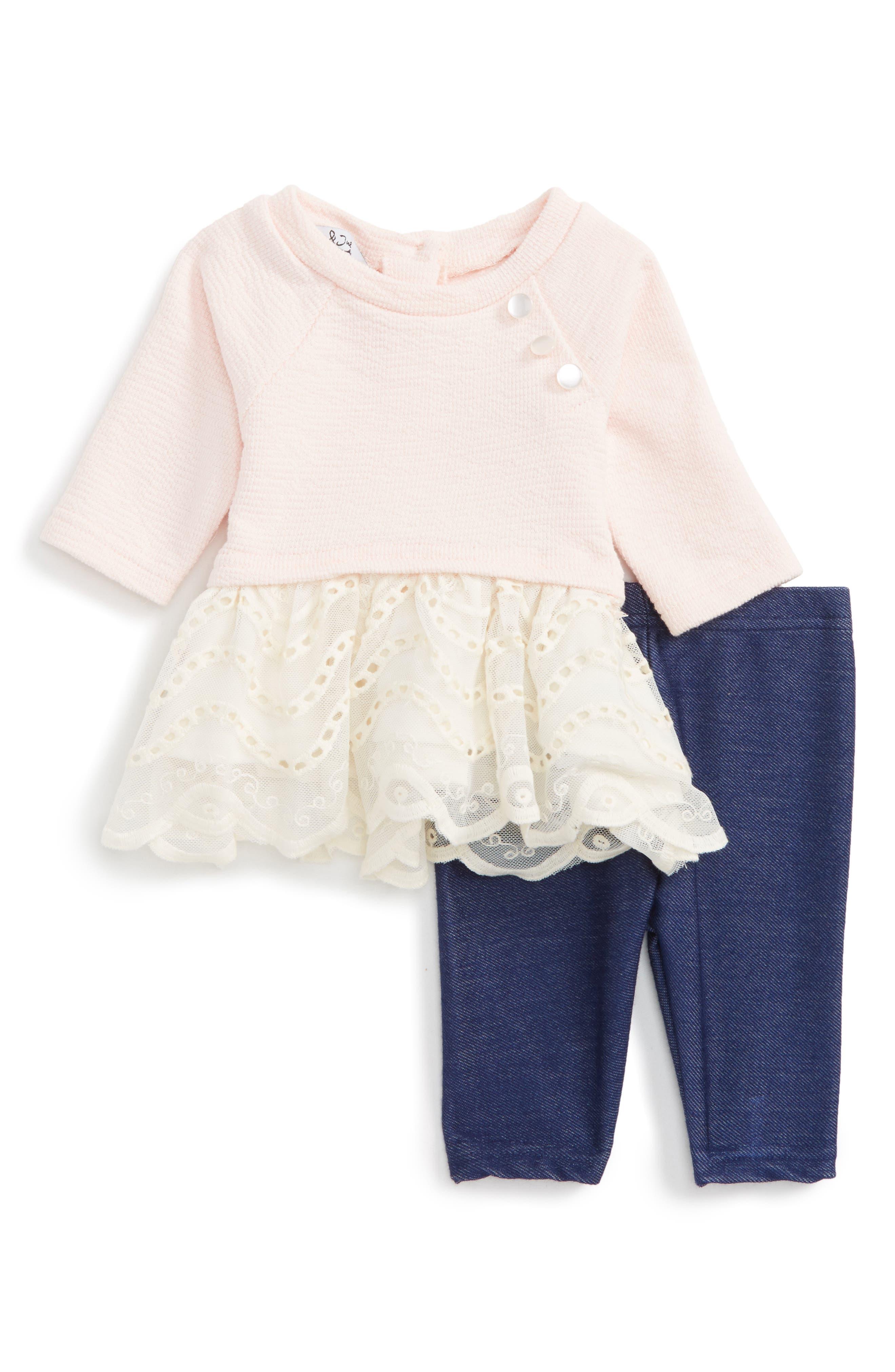 Pippa & Julie Vintage Dress & Leggings Set (Baby Girls)