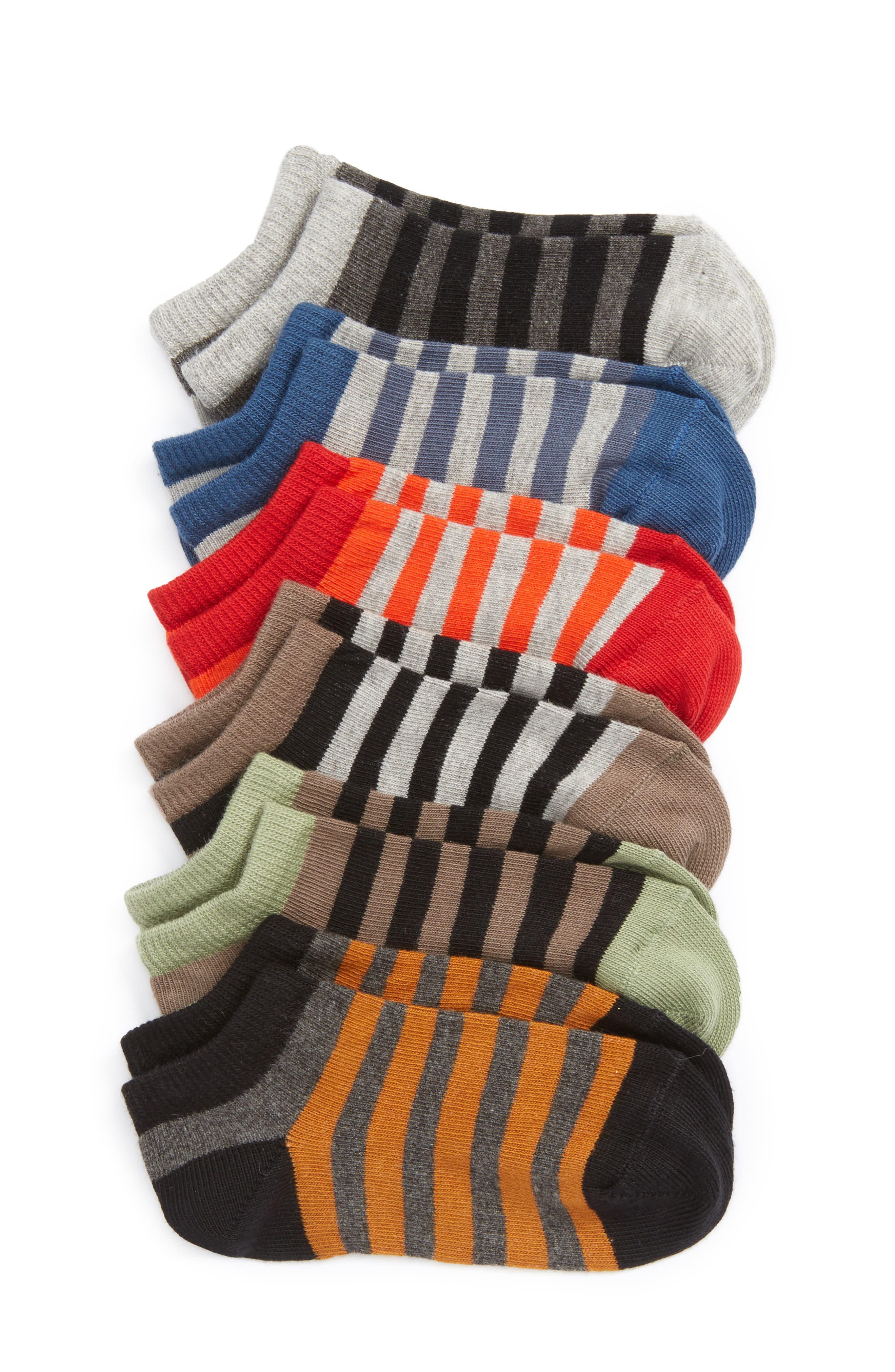 Assorted 6-Pack No-Show Socks,                             Main thumbnail 1, color,                             Blue Nautical