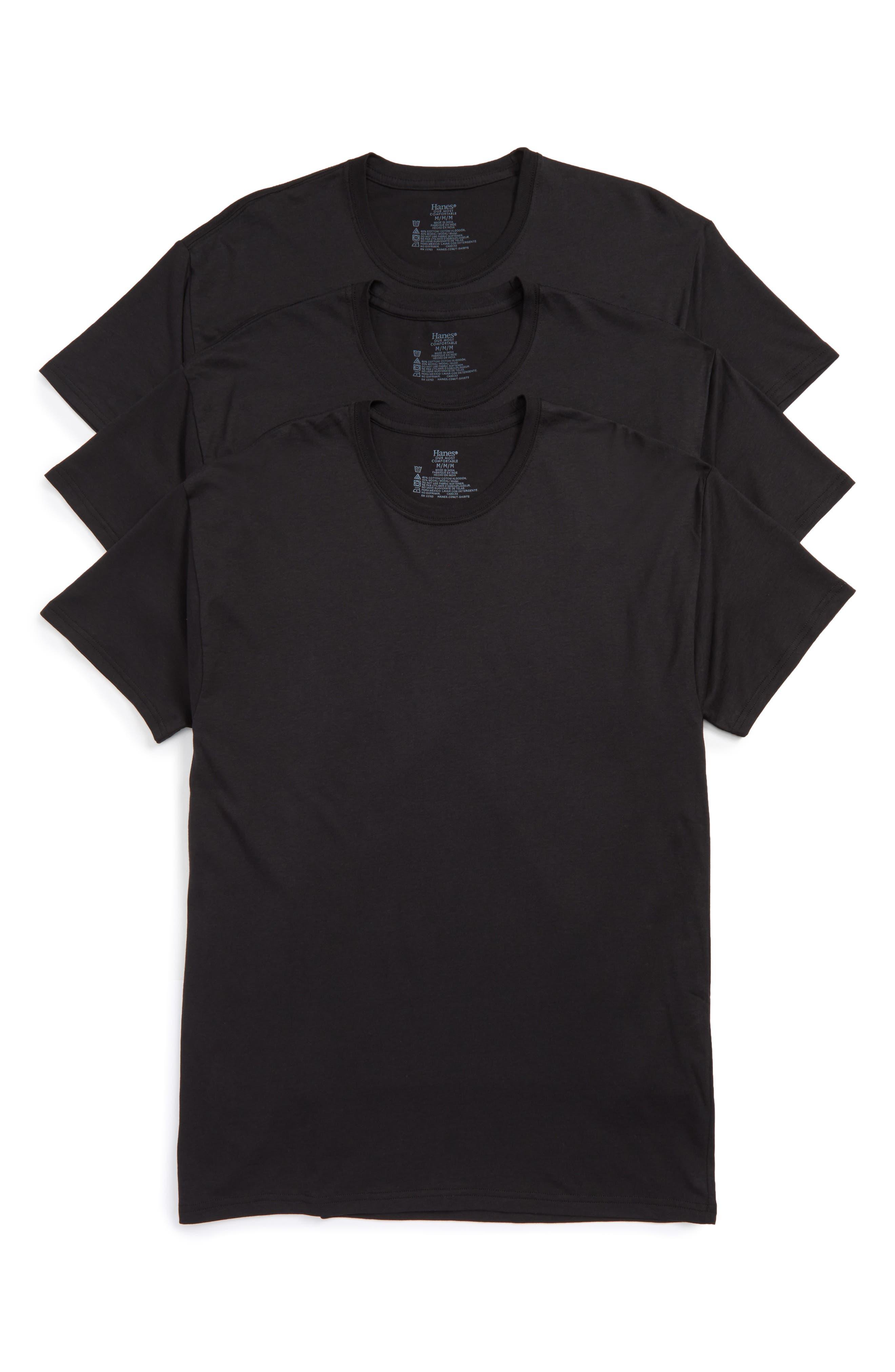 Luxury Essentials 3-Pack Crewneck T-Shirt,                         Main,                         color, Black