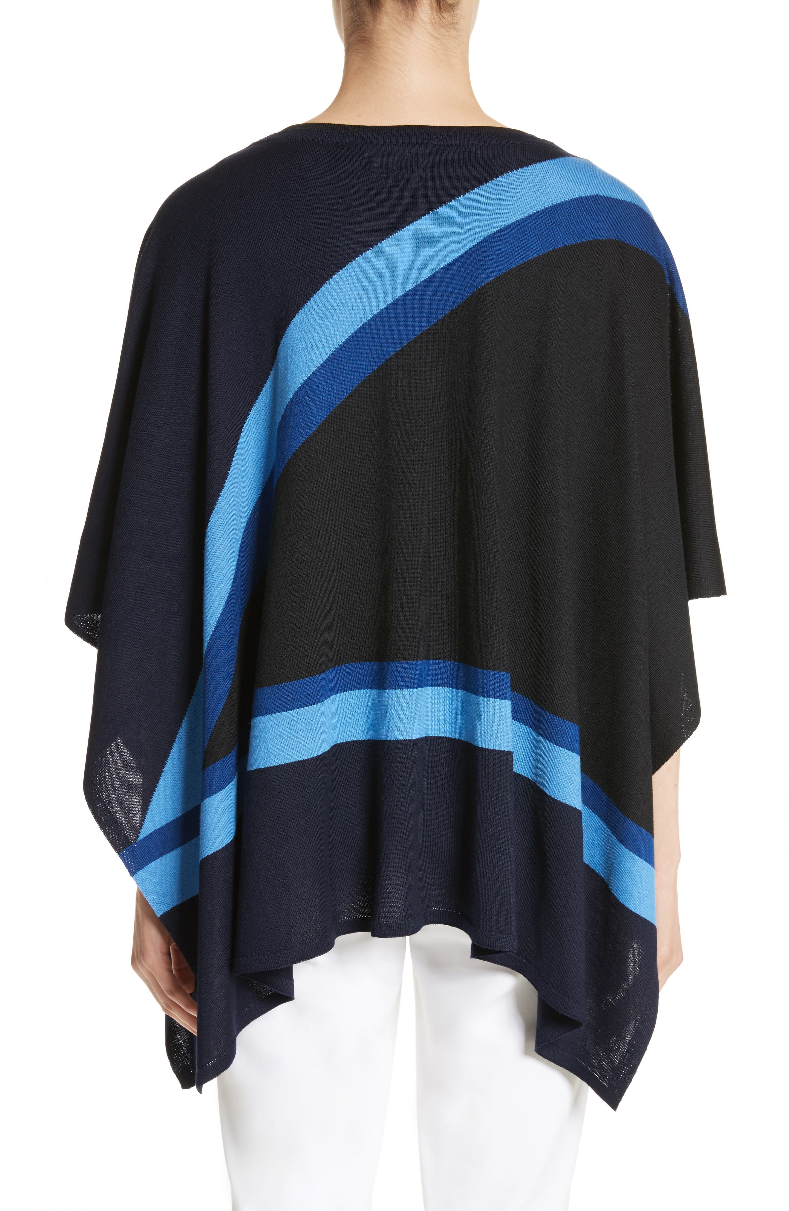 Intarsia Knit Jersey Poncho,                             Alternate thumbnail 2, color,                             Navy Multi