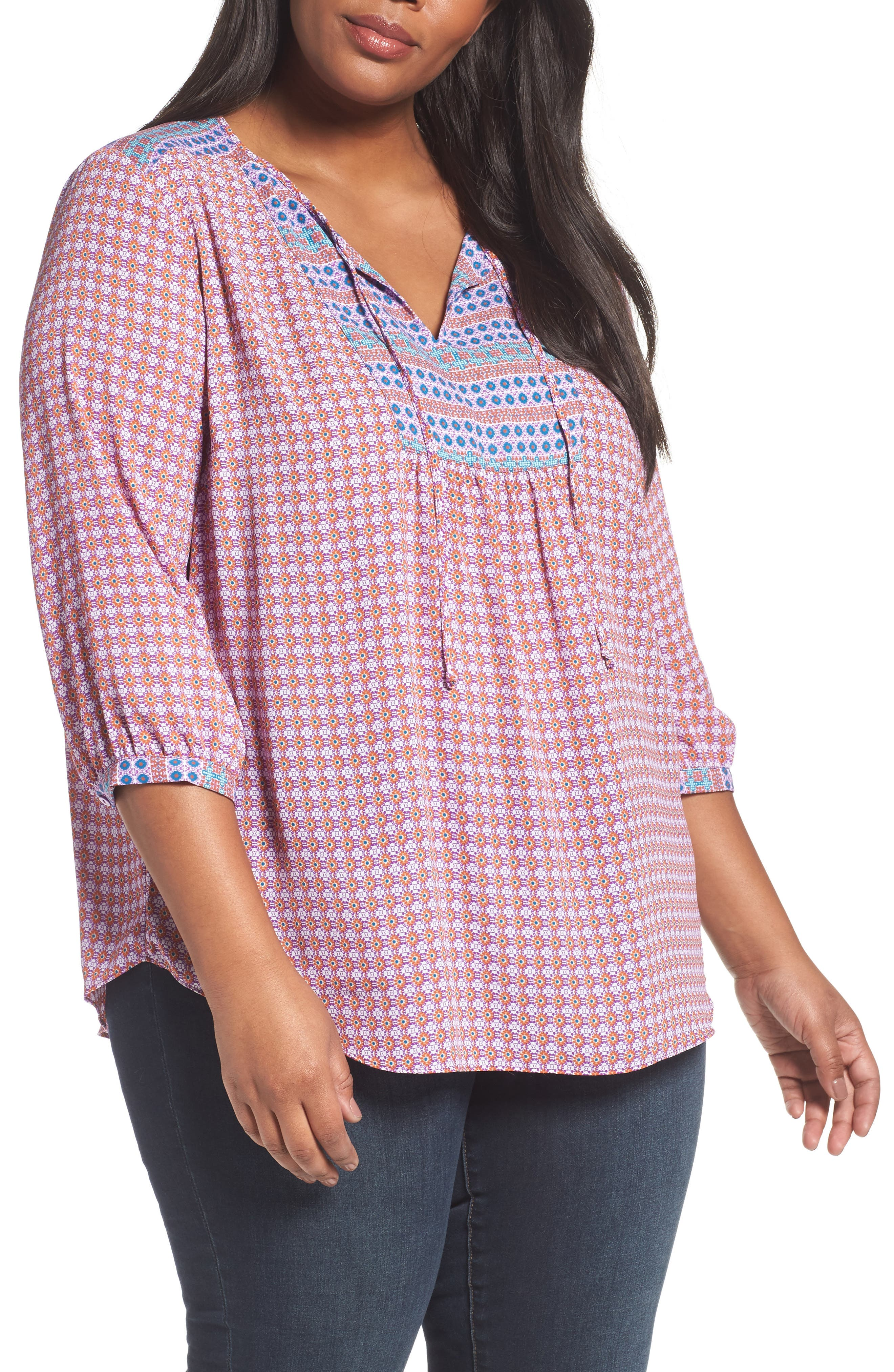 NYDJ 'Patchwork Mosaic' Peasant Blouse (Plus Size)