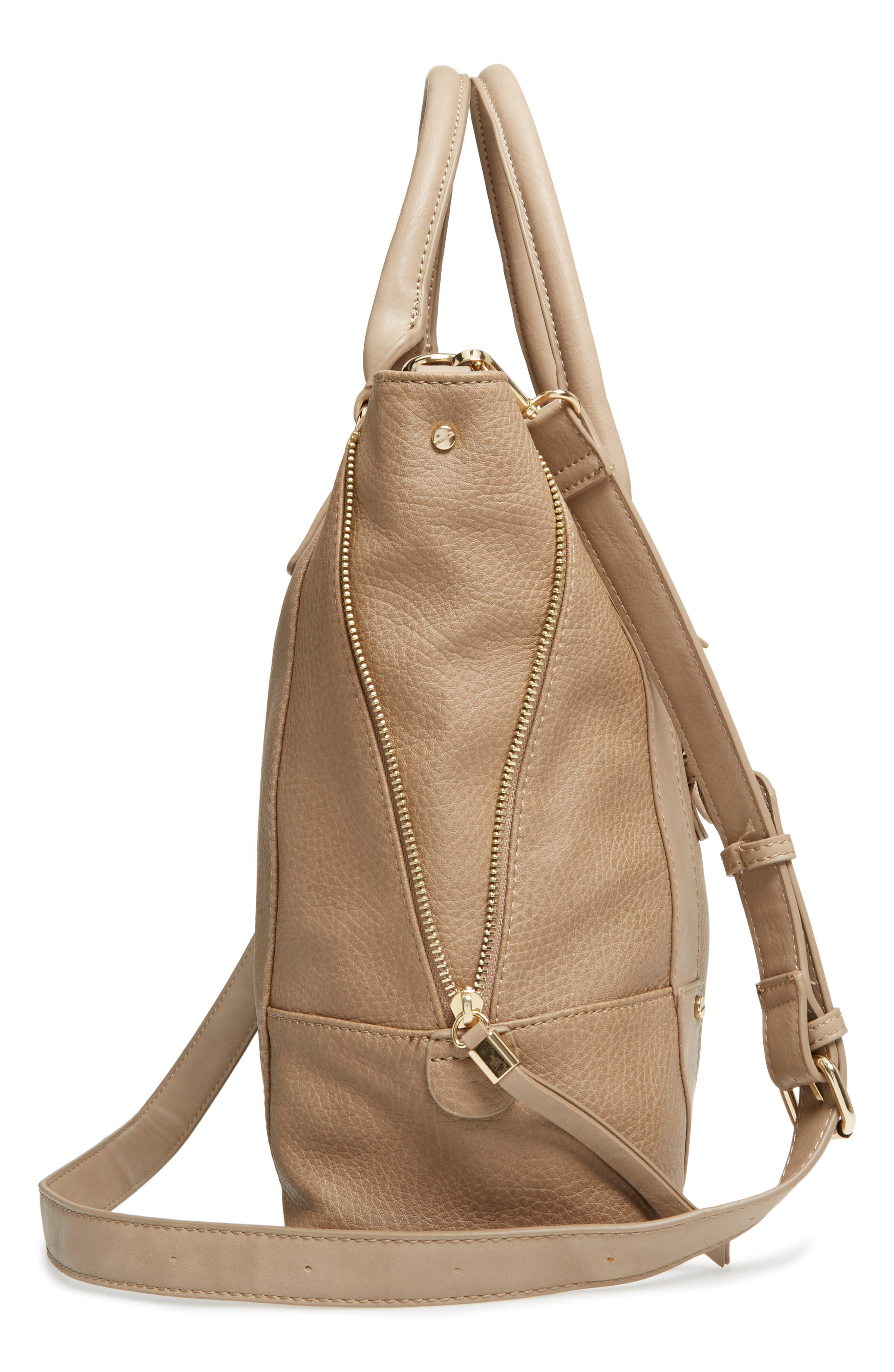 'Susan' Winged Faux Leather Tote,                             Alternate thumbnail 5, color,                             Mushroom