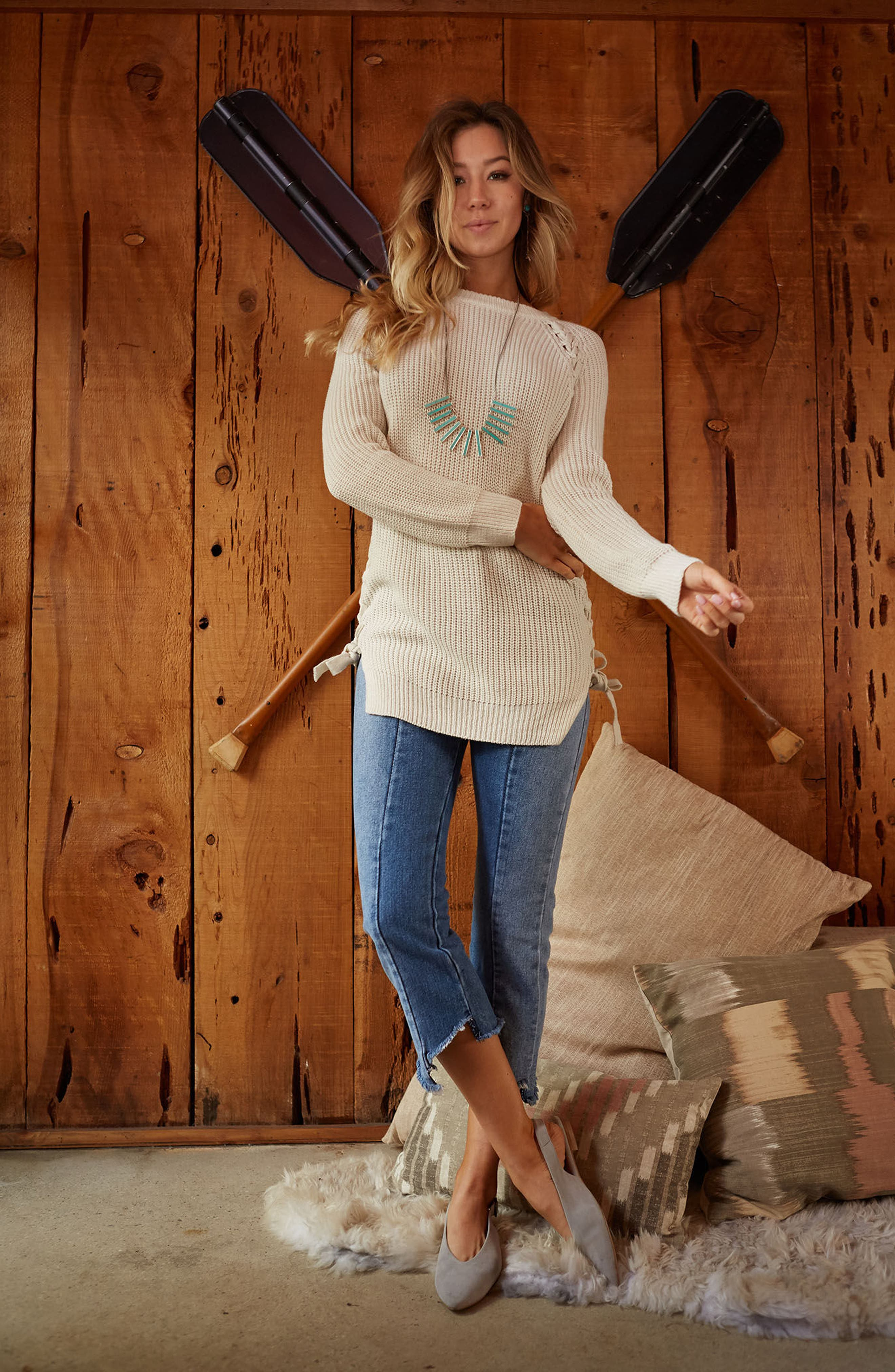 Reina Lace-Up Side Sweater,                             Alternate thumbnail 2, color,                             Ivory