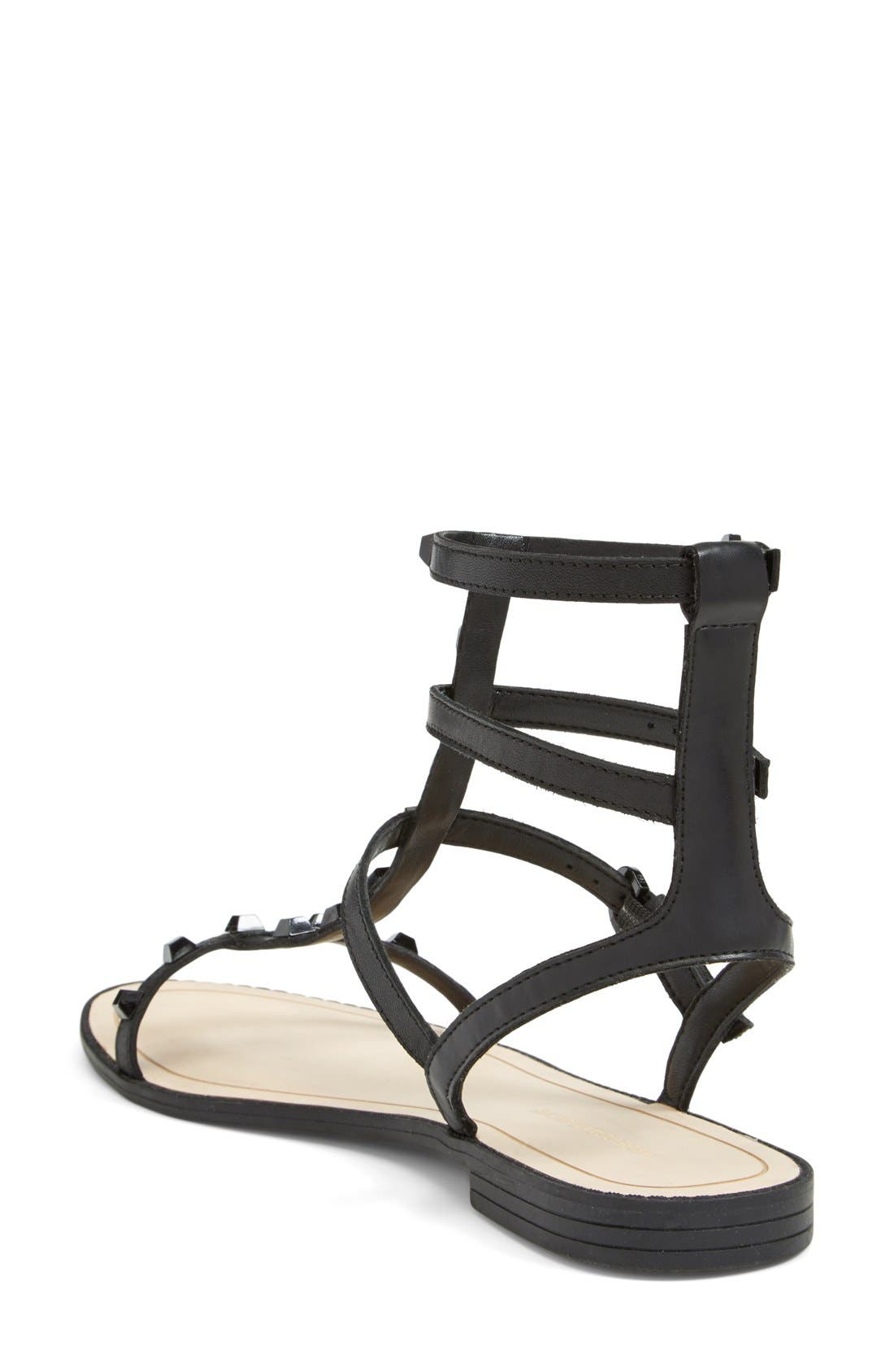 'Georgina' Studded Leather Sandal,                             Alternate thumbnail 2, color,                             Black