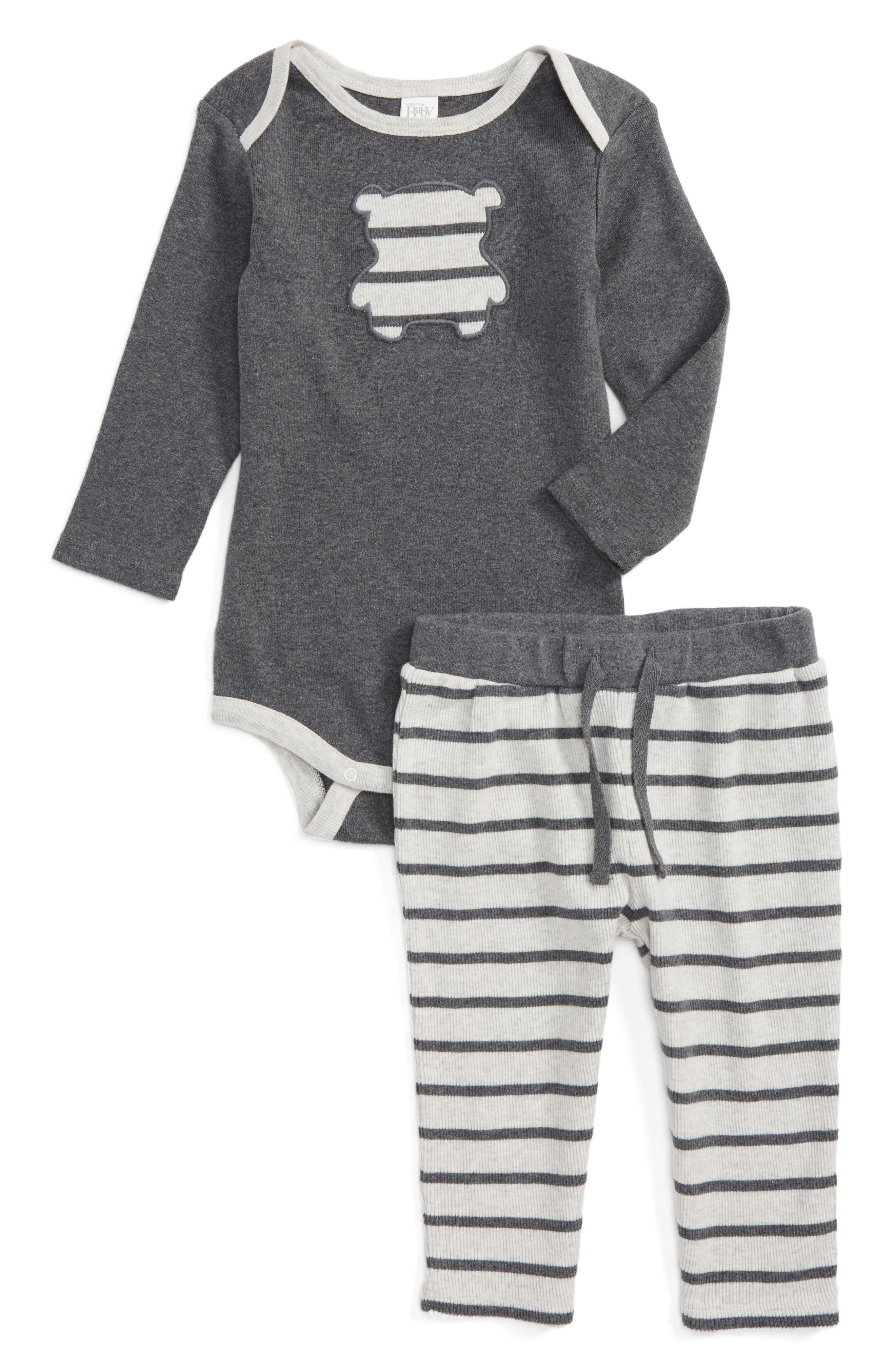 NORDSTROM BABY Teddy Appliqué Bodysuit & Pants Set