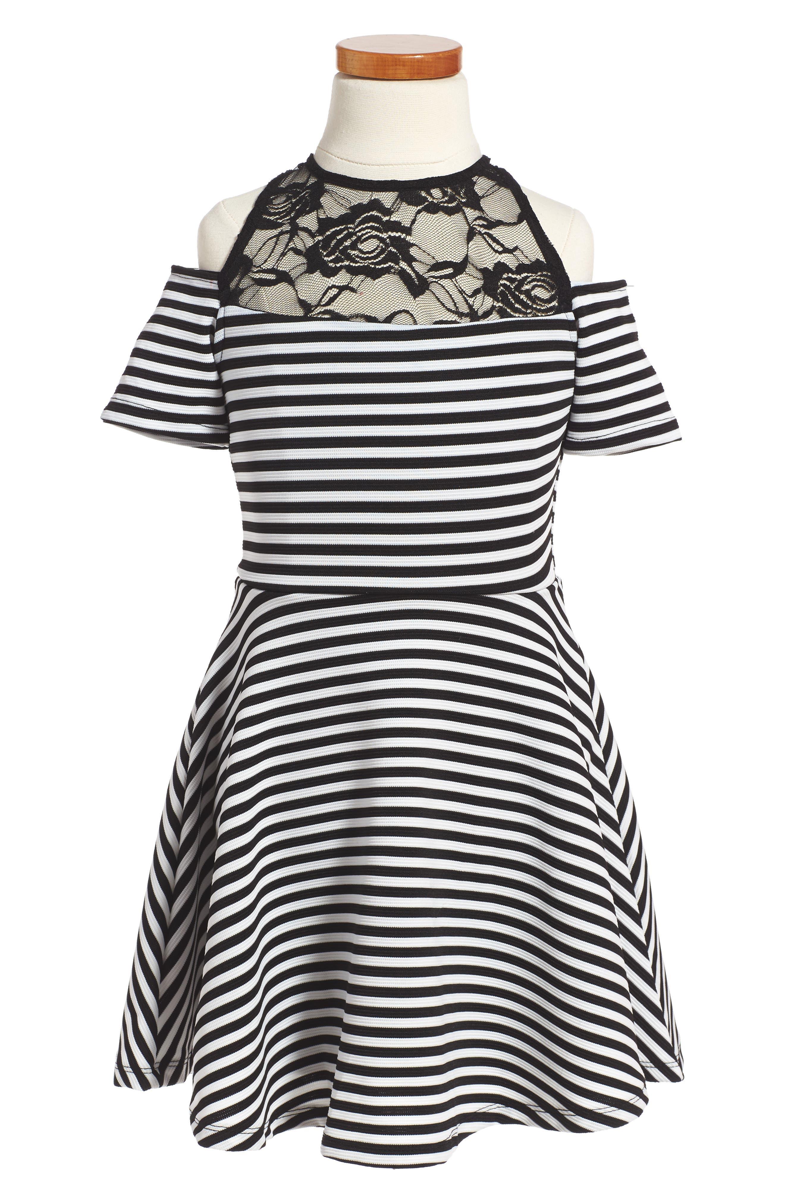 Cold Shoulder Skater Dress,                         Main,                         color, Black White