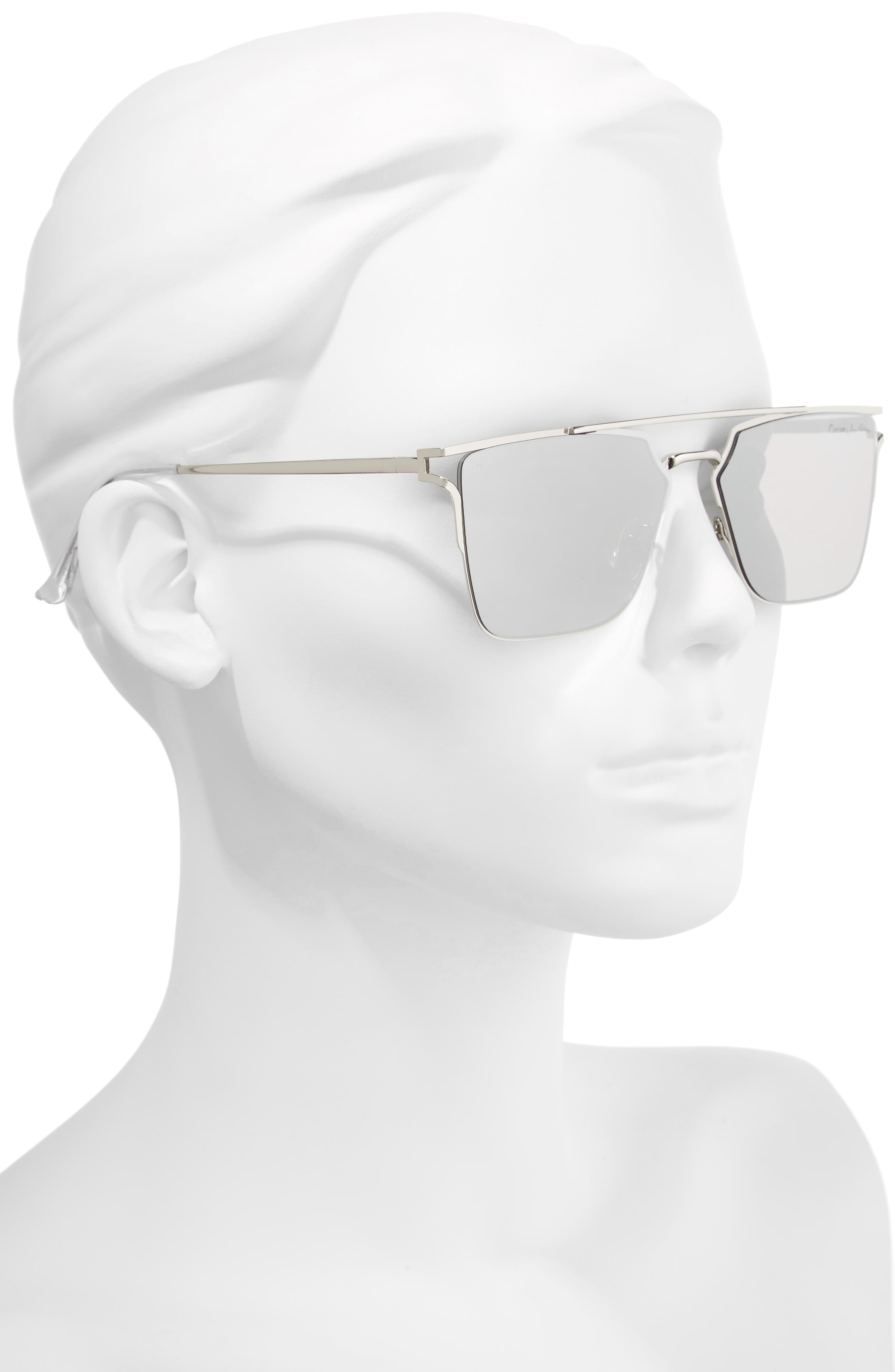 56mm Flat Top Sunglasses,                             Alternate thumbnail 2, color,                             Silver