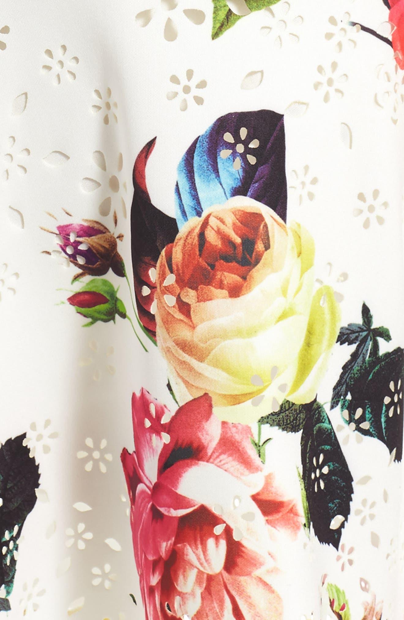 Floral Print Sleeveless Dress,                             Alternate thumbnail 3, color,                             Cream Multi