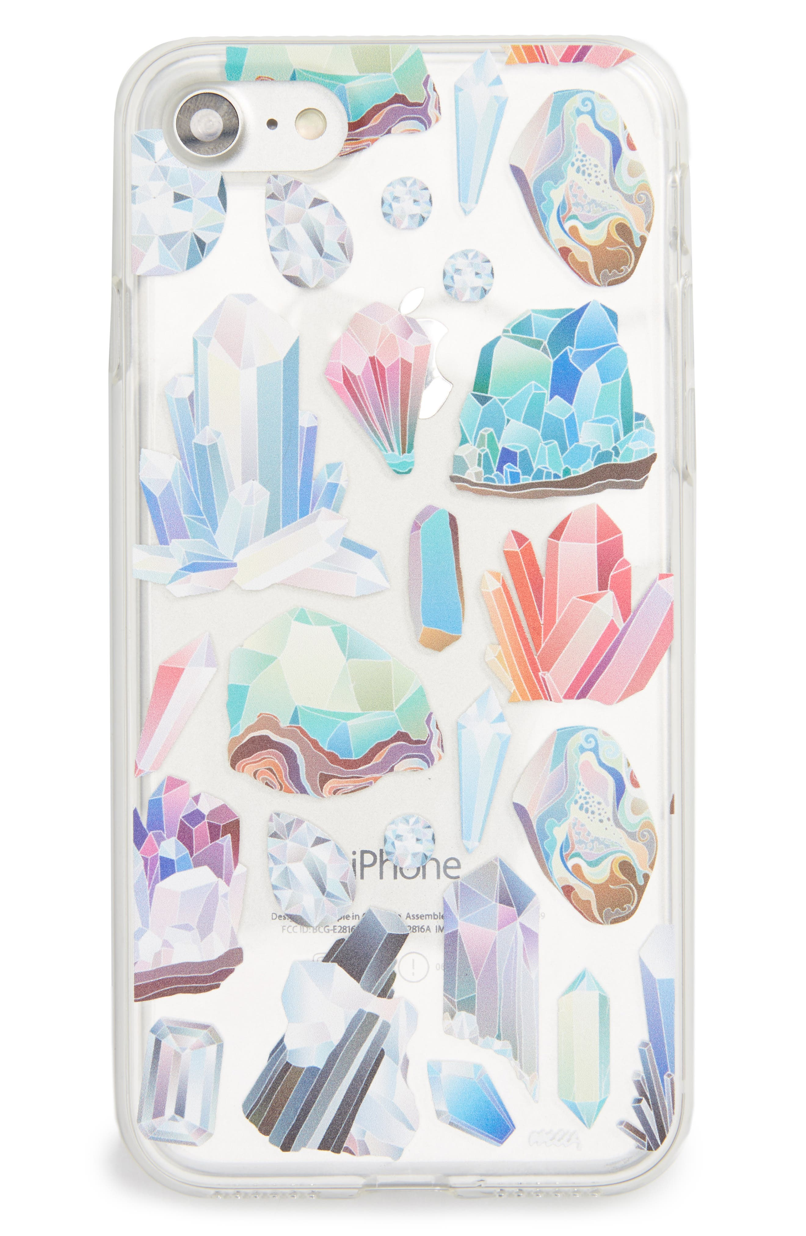 Crystals iPhone 7 Case,                             Main thumbnail 1, color,                             Clear/ Multi
