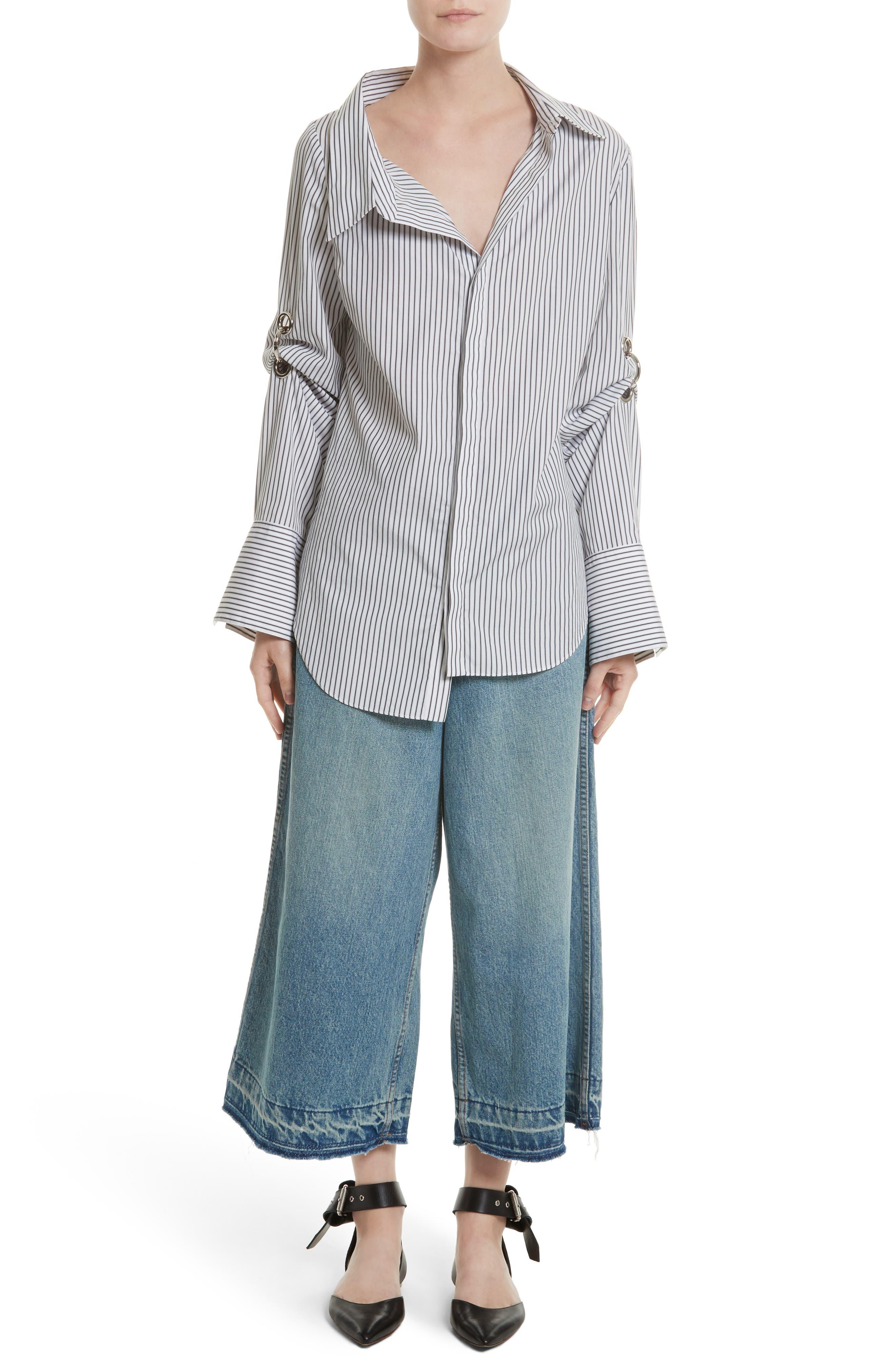 Grommet Scrunch Sleeve Shirt,                             Alternate thumbnail 6, color,                             Blue/ White