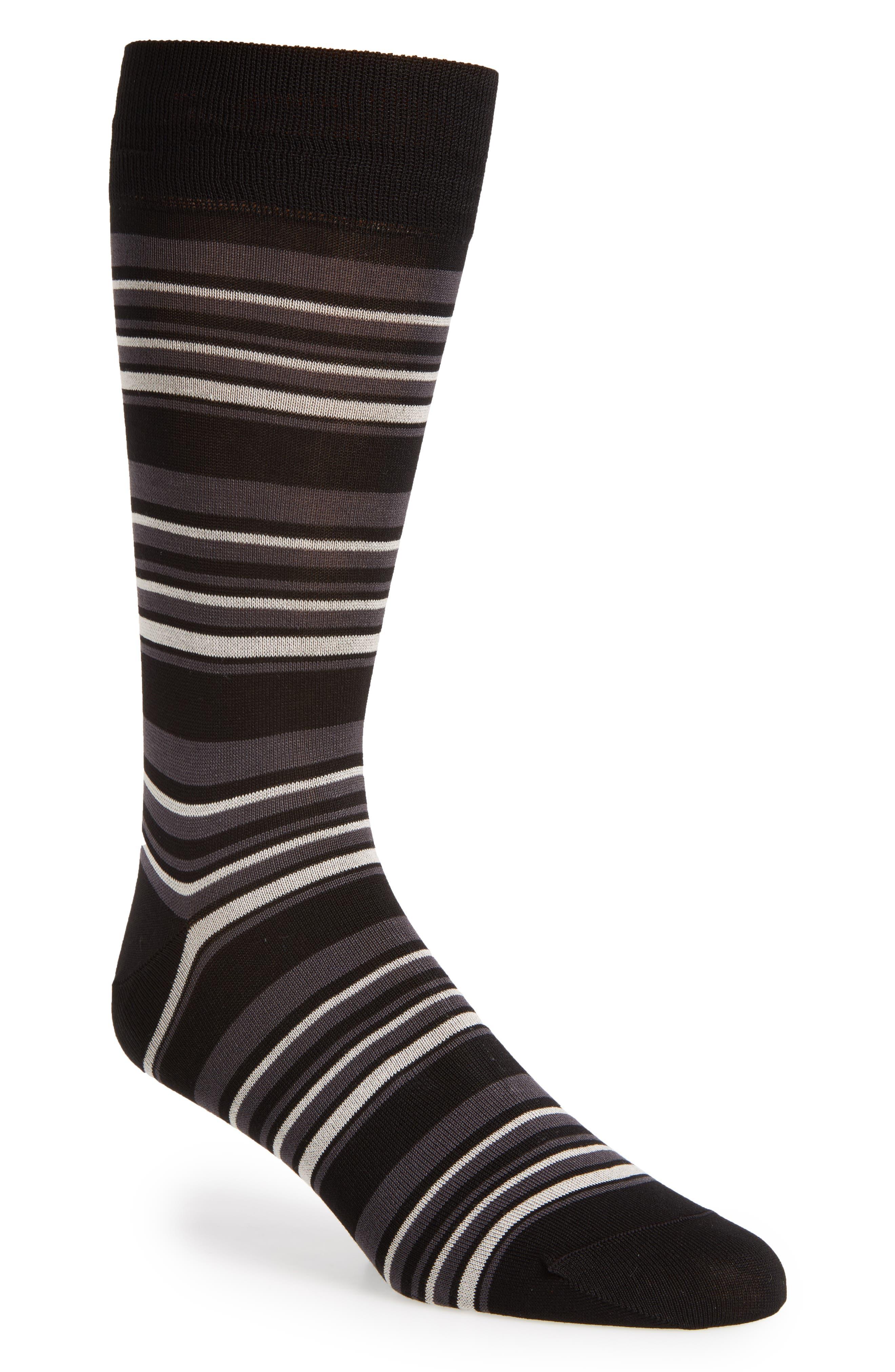 Stripe Crew Socks,                         Main,                         color, Black