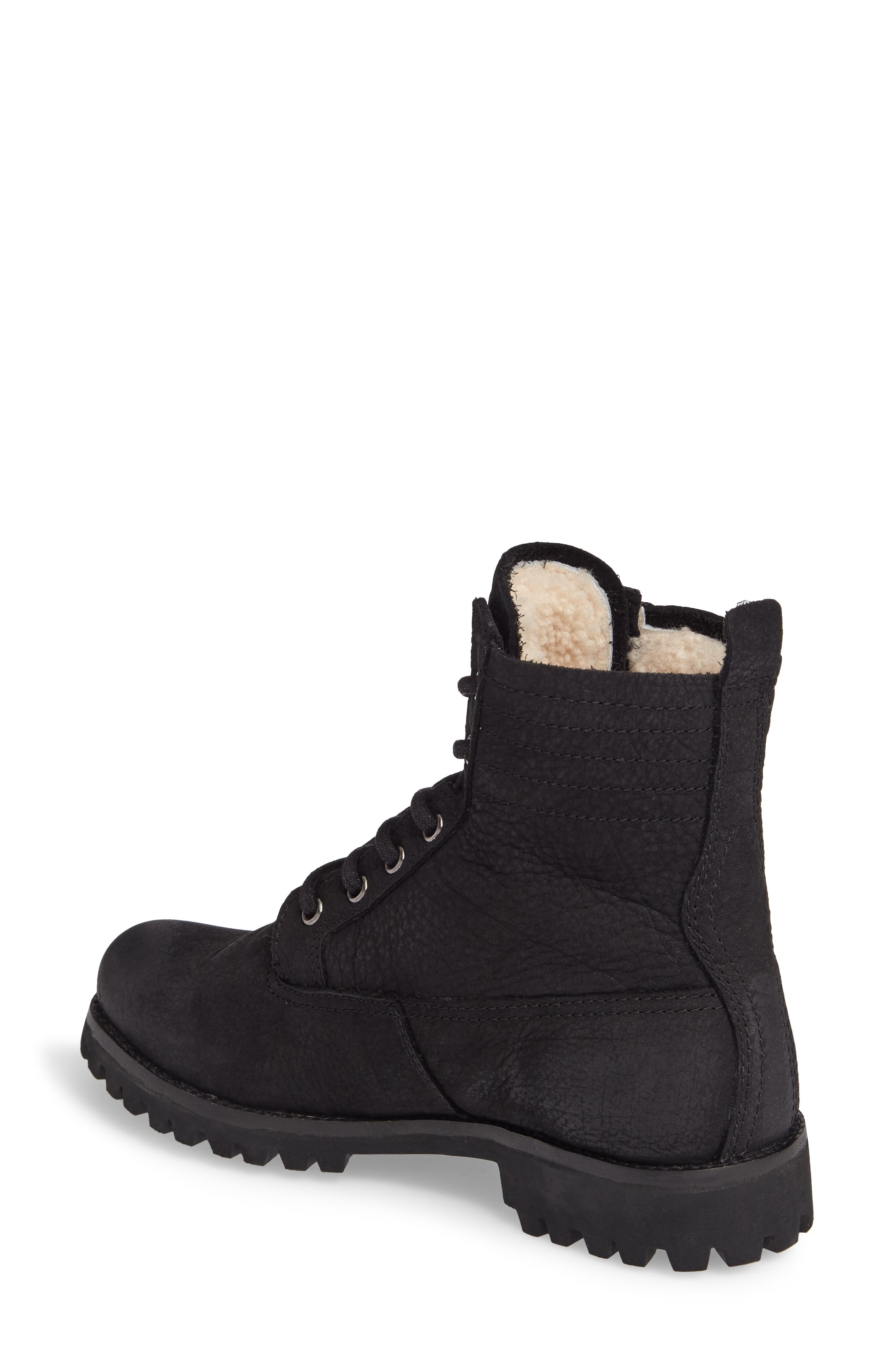 OL22 Lace-Up Boot with Genuine Shearling Lining,                             Alternate thumbnail 2, color,                             Black Leather