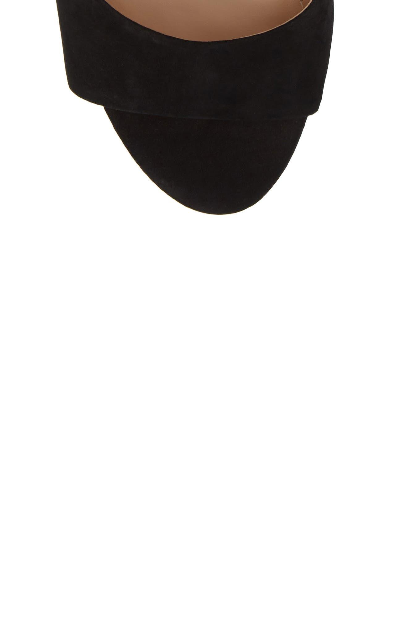 Kaira Ankle Wrap Sandal,                             Alternate thumbnail 5, color,                             Black Nubuck Leather