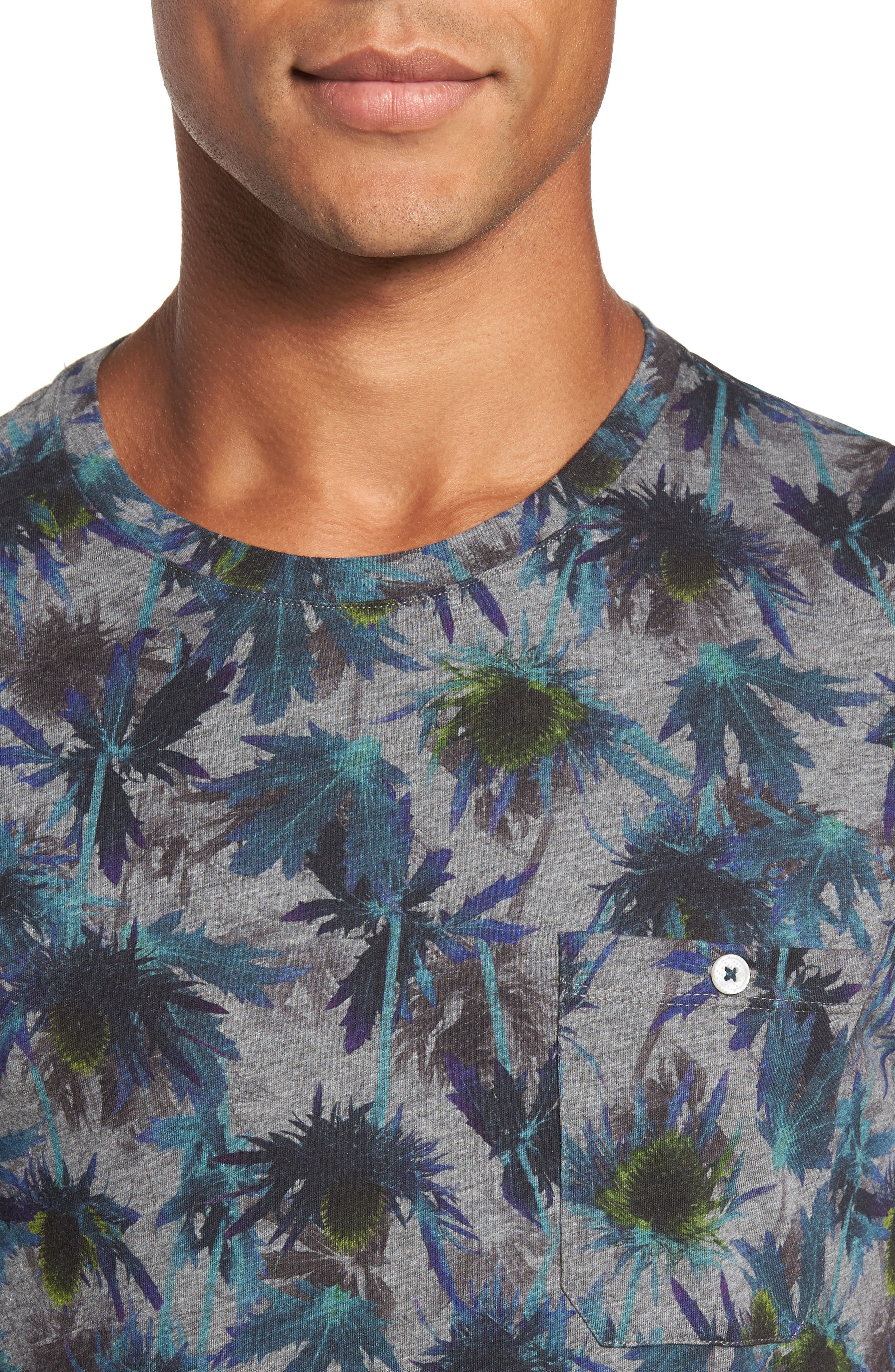 Katatak Thistle Print T-Shirt,                             Alternate thumbnail 4, color,                             Grey