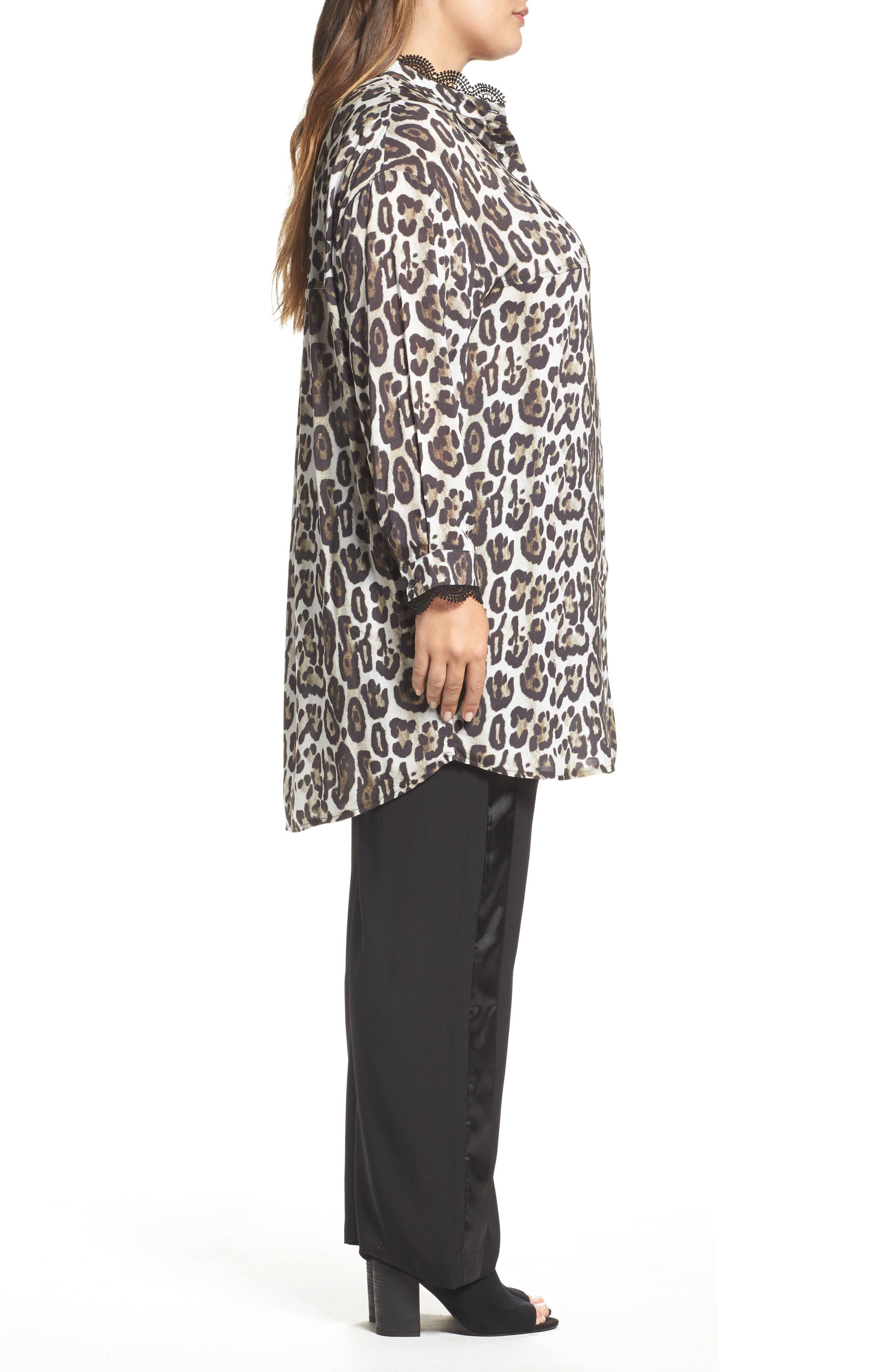 Oversize Leopard Print Blouse,                             Alternate thumbnail 3, color,                             Black/ Multi
