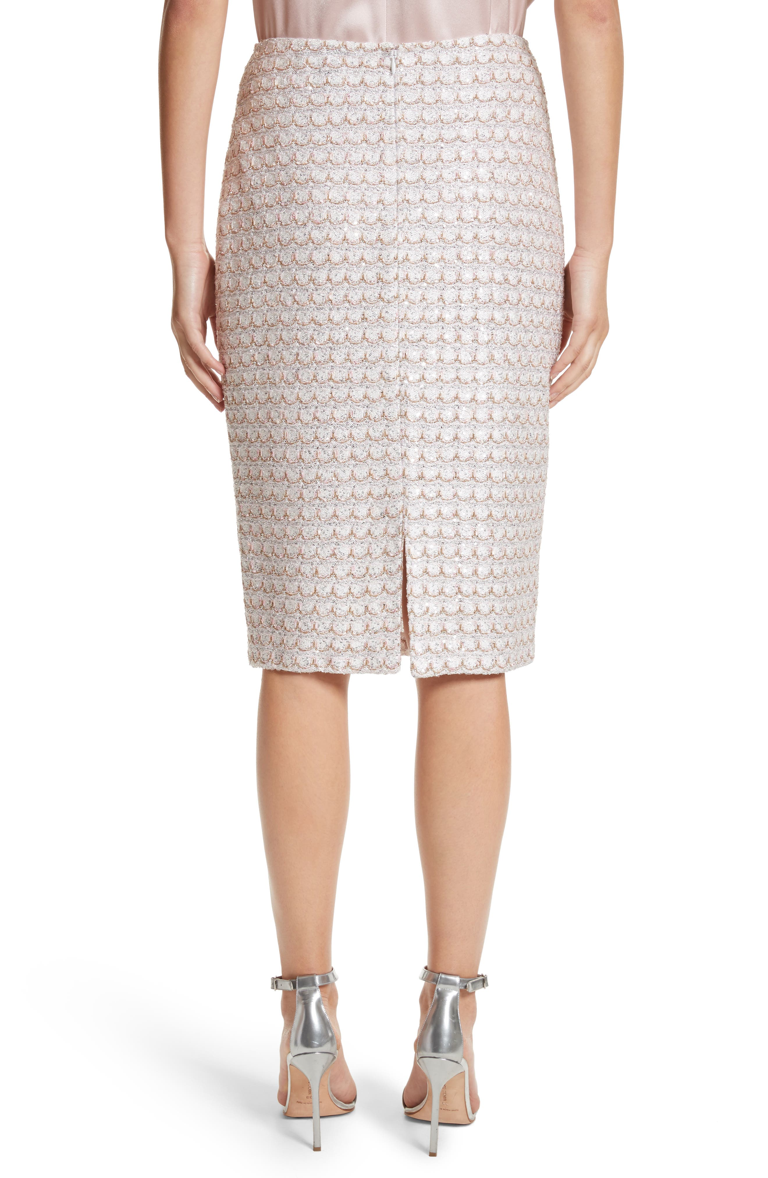 Sequin Scallop Tweed Pencil Skirt,                             Alternate thumbnail 2, color,                             Bianco Multi