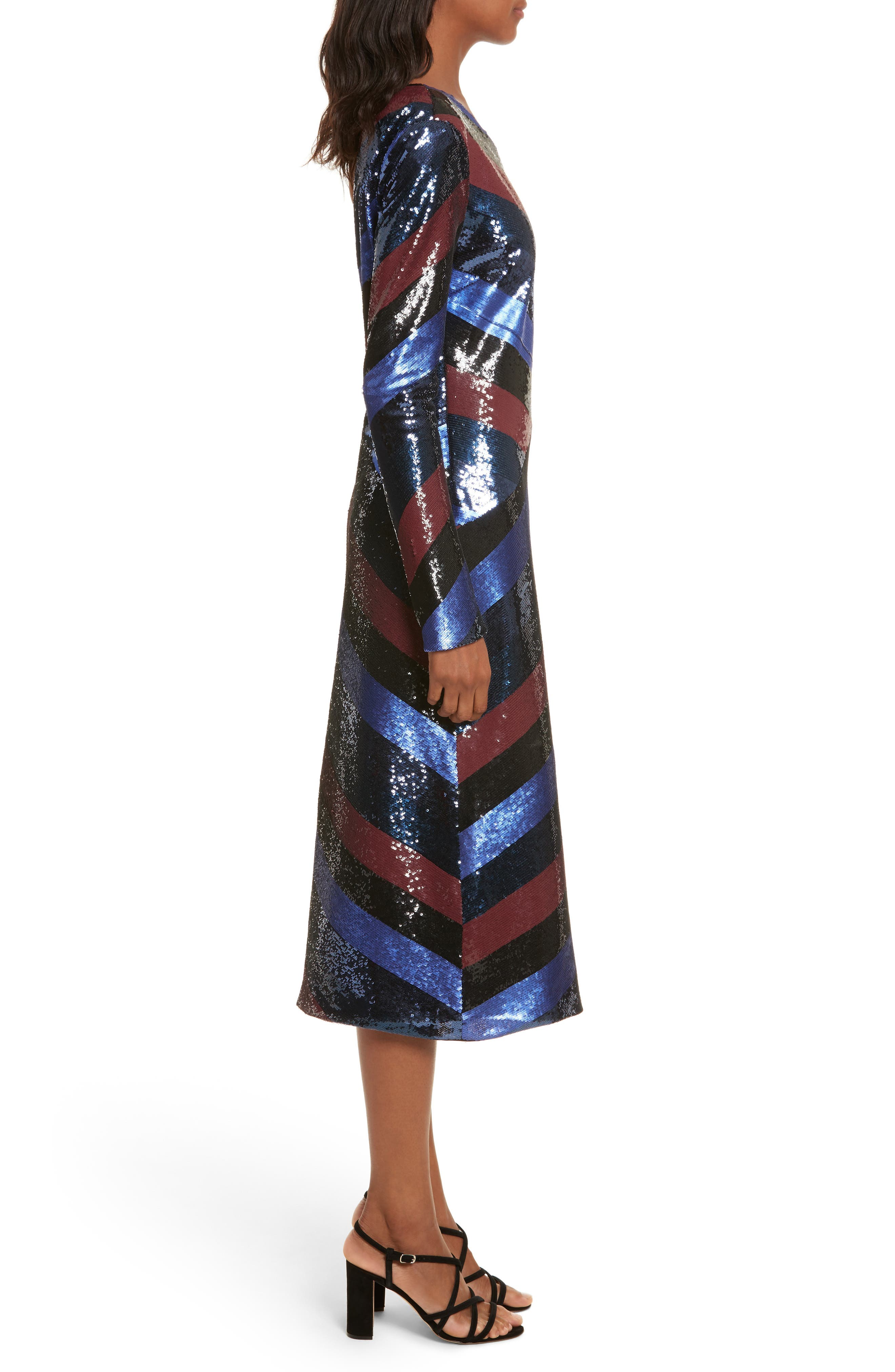 One-Shoulder Sequin Stripe Dress,                             Alternate thumbnail 3, color,                             Electric Blue Multi