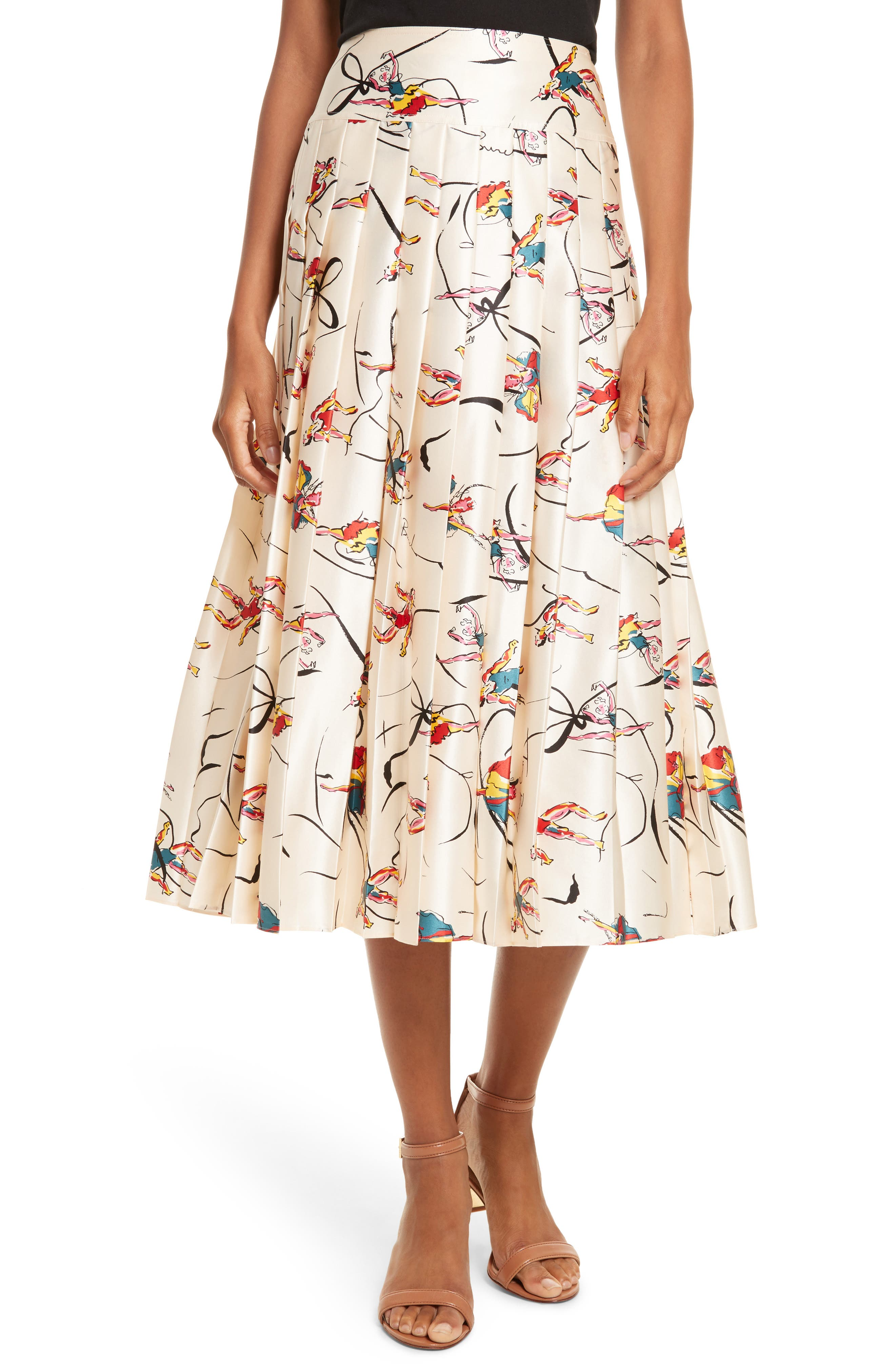Tory Burch Vance Pleated Silk Midi Skirt