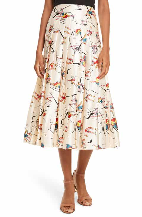 Tory Burch Vance Pleated Silk Midi Skirt